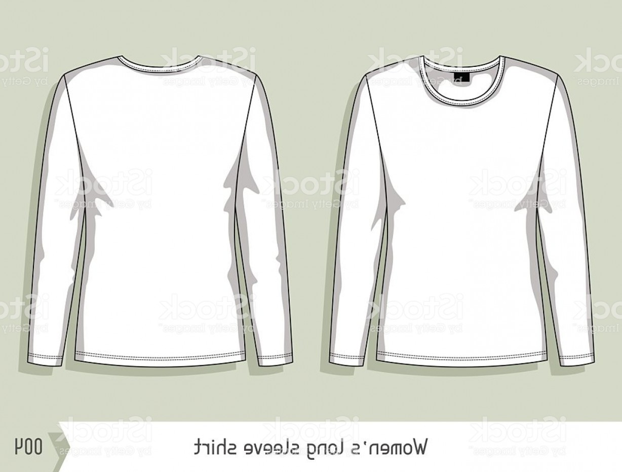Long Sleeve Jersey Vector Template: Women Long Sleeve Shirt Template For Design Easily Editable By Gm