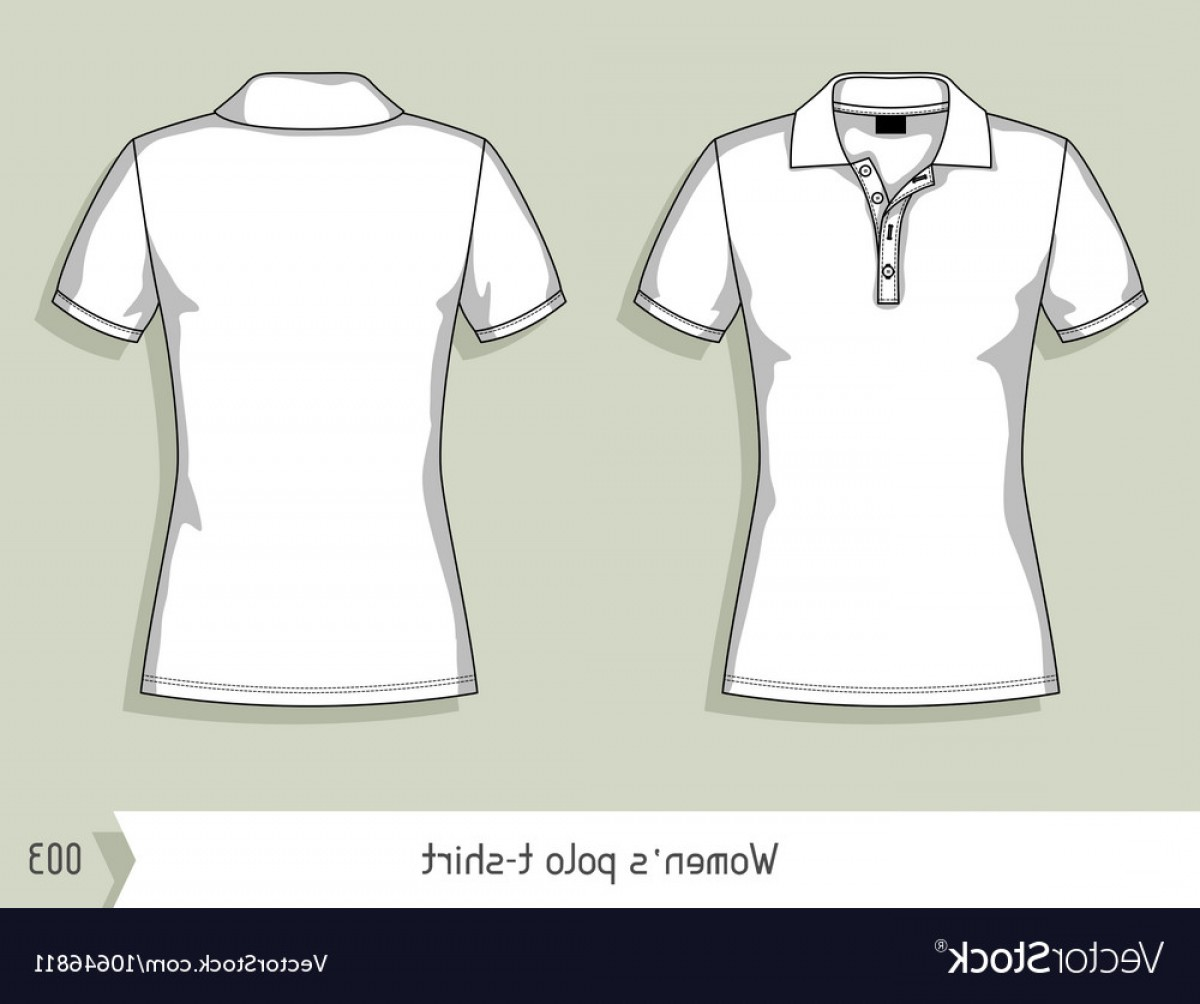 Female Polo Shirt Vector Template: Women Polo T Shirt Template For Design Easily Vector