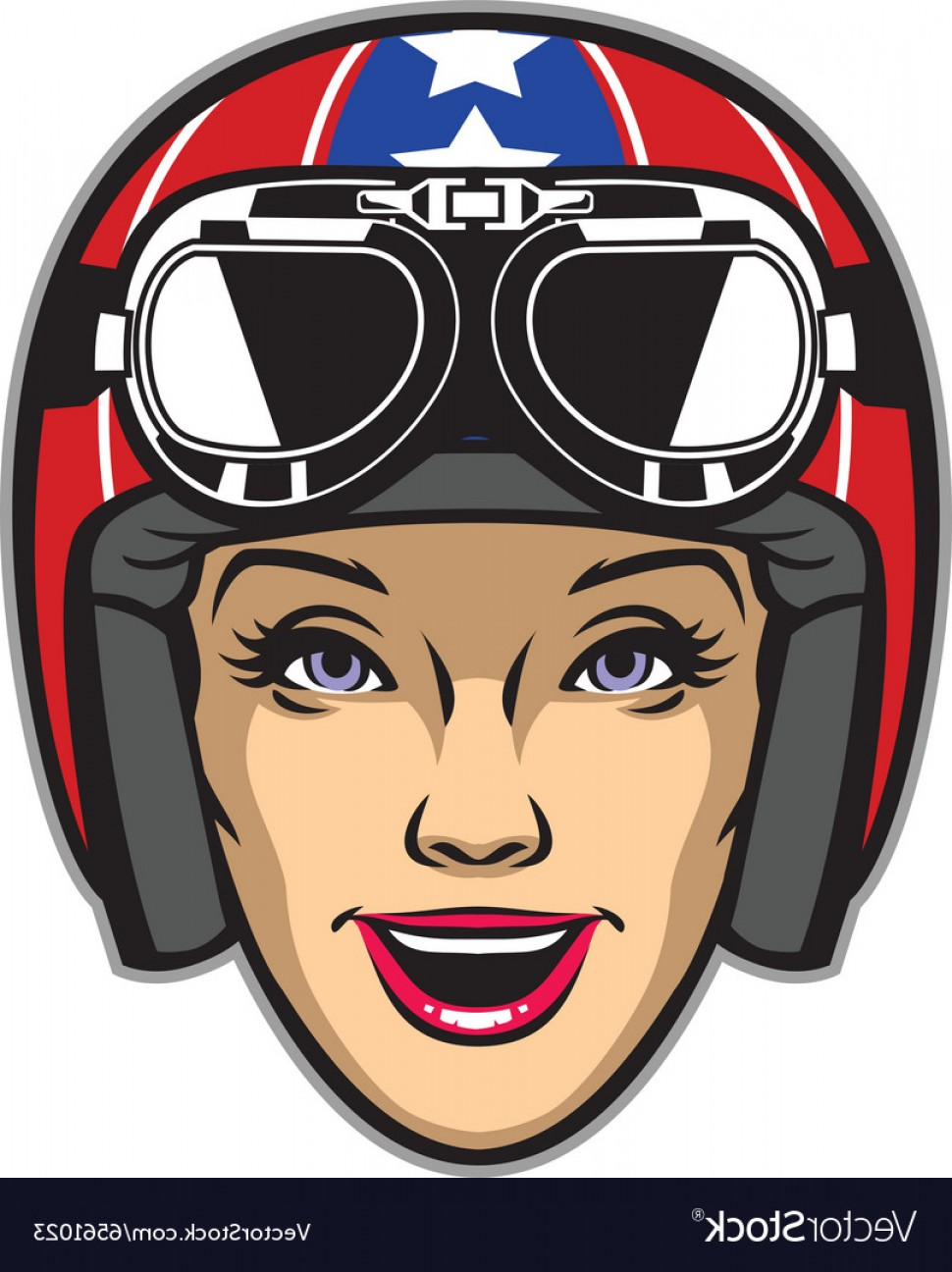 Motorcycle Helmet Vector Art: Women Rider Wearing Motorcycle Helmet Vector