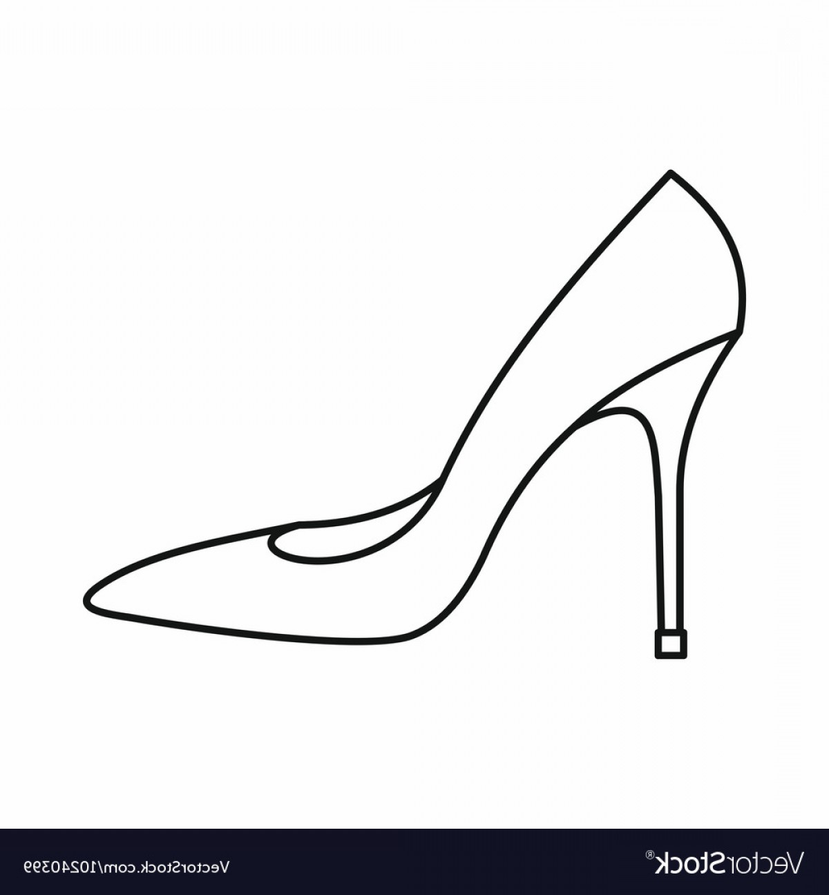 Silhouette Hee High Vector Lsitleetios: Women Shoe With High Heels Icon Outline Style Vector