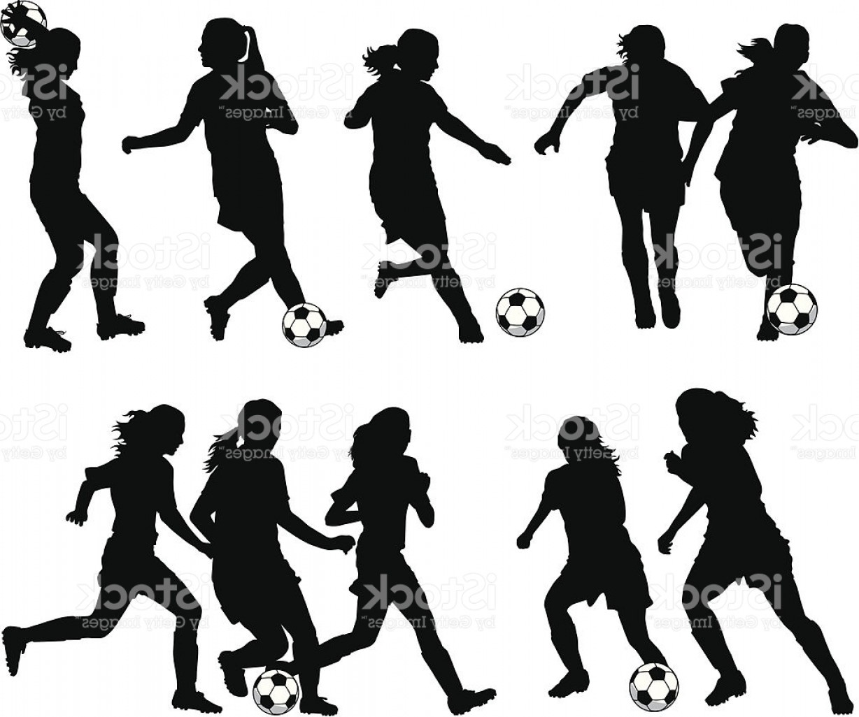 Vector Football Girl: Women Soccer Player Silhouettes Gm