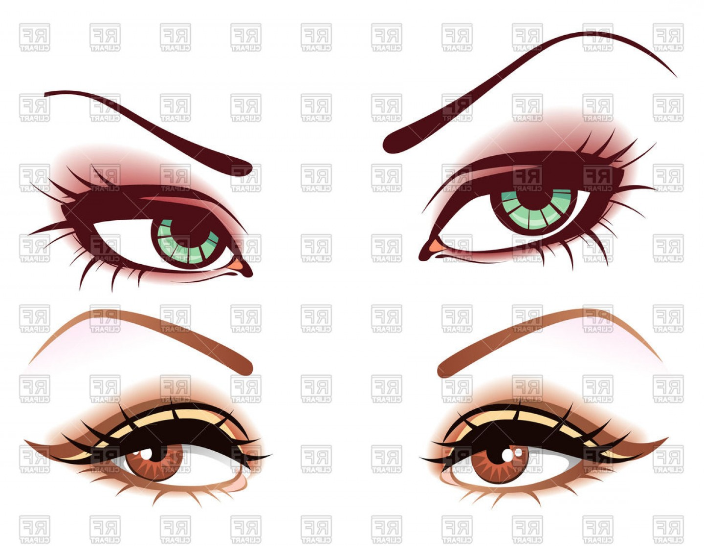 Woman Eye Vector Graphics: Womens Green And Brown Eyes Mysterious Look Vector Clipart