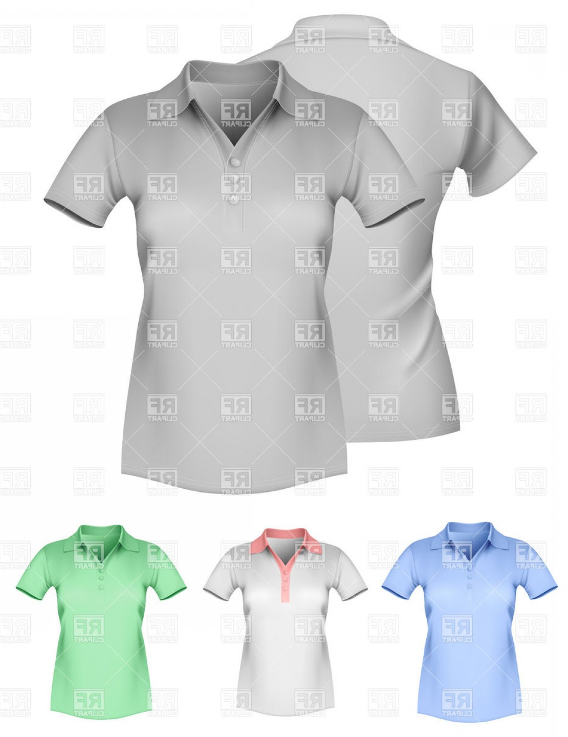 Female Polo Shirt Vector Template: Womens Polo Shirt Template Vector Clipart