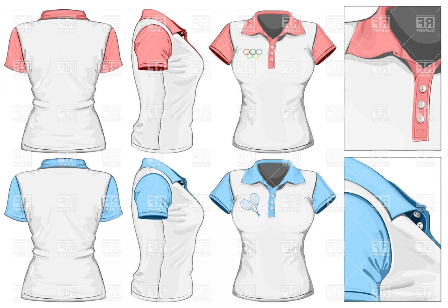 Female Polo Shirt Vector Template: Womens Polo Shirt Tennis Shirt Vector Clipart