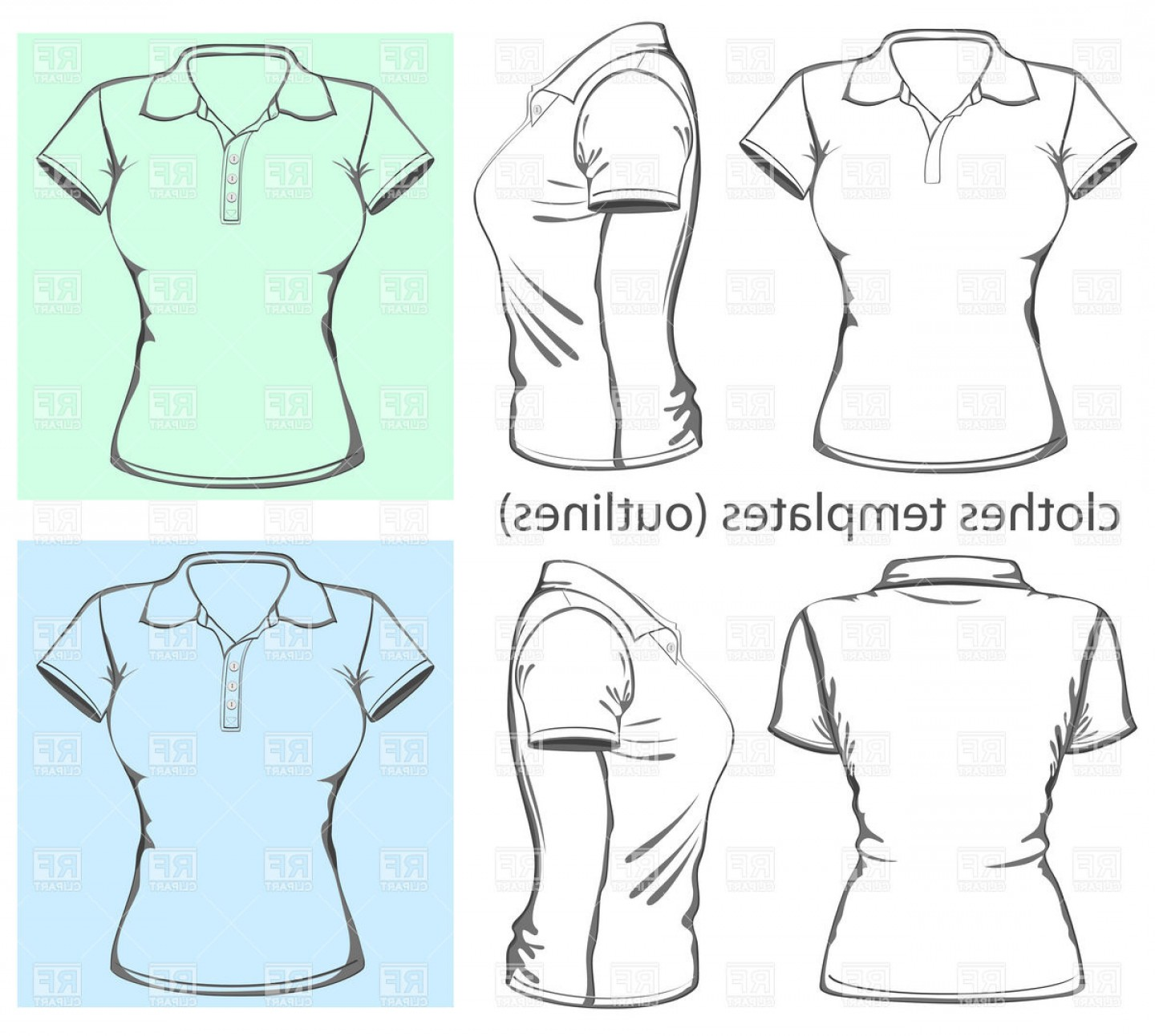 Female Polo Shirt Vector Template: Womens Polo Shirt Vector Clipart
