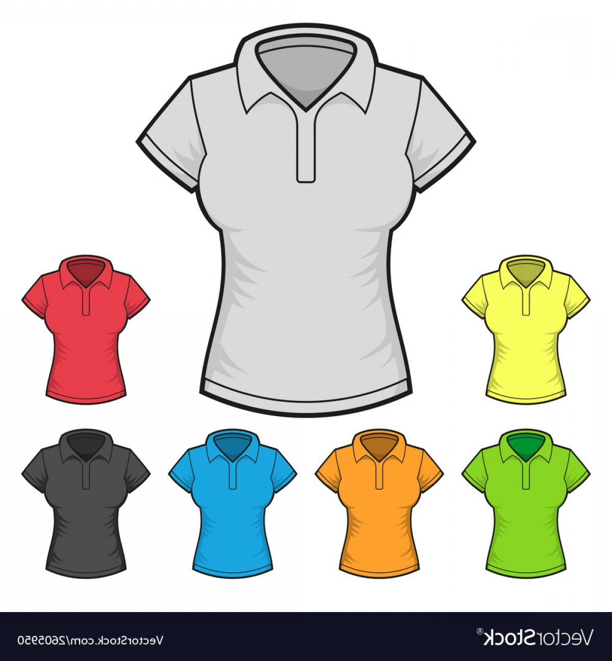 Female Polo Shirt Vector Template: Womens Polo T Shirt Design Template Color Set Vector