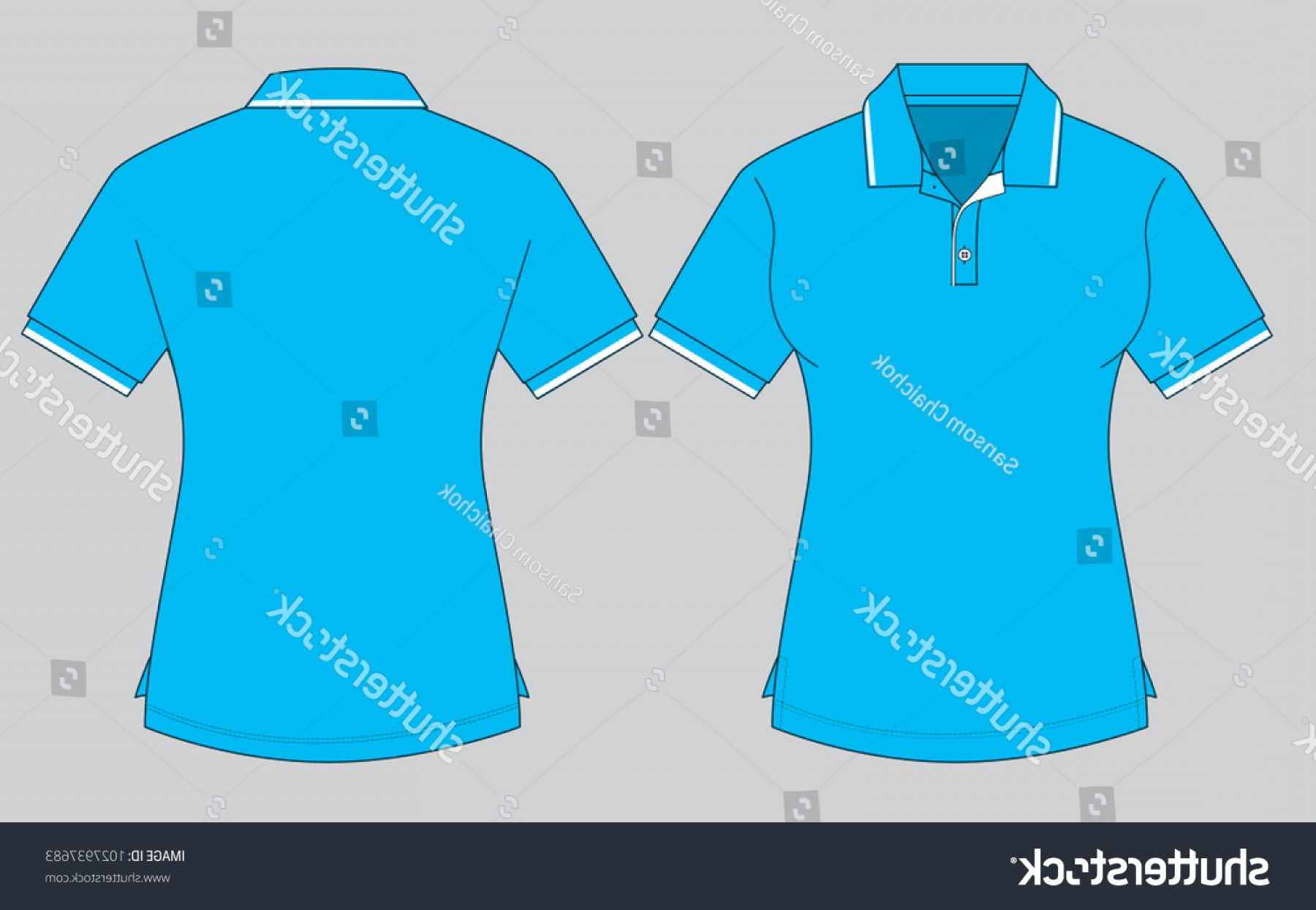Female Polo Shirt Vector Template: Womens Sky Blue Polo Shirt Template