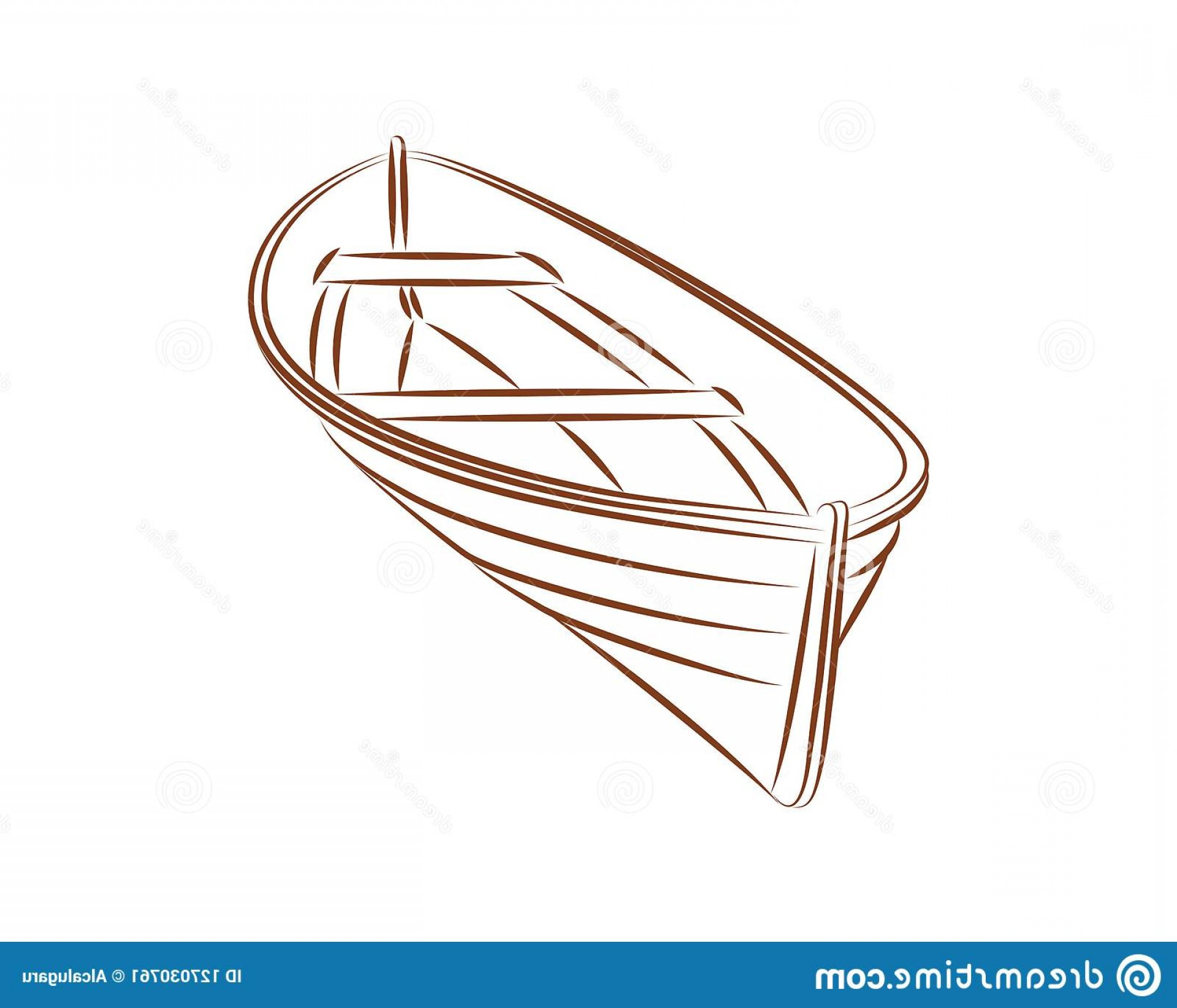Boat Vector Art Graphics: Wood Boat Vector Line Simple Brown Wooden Boat Vector Icon Illustration Line Graphic Drawing Symbol Ship Art Image