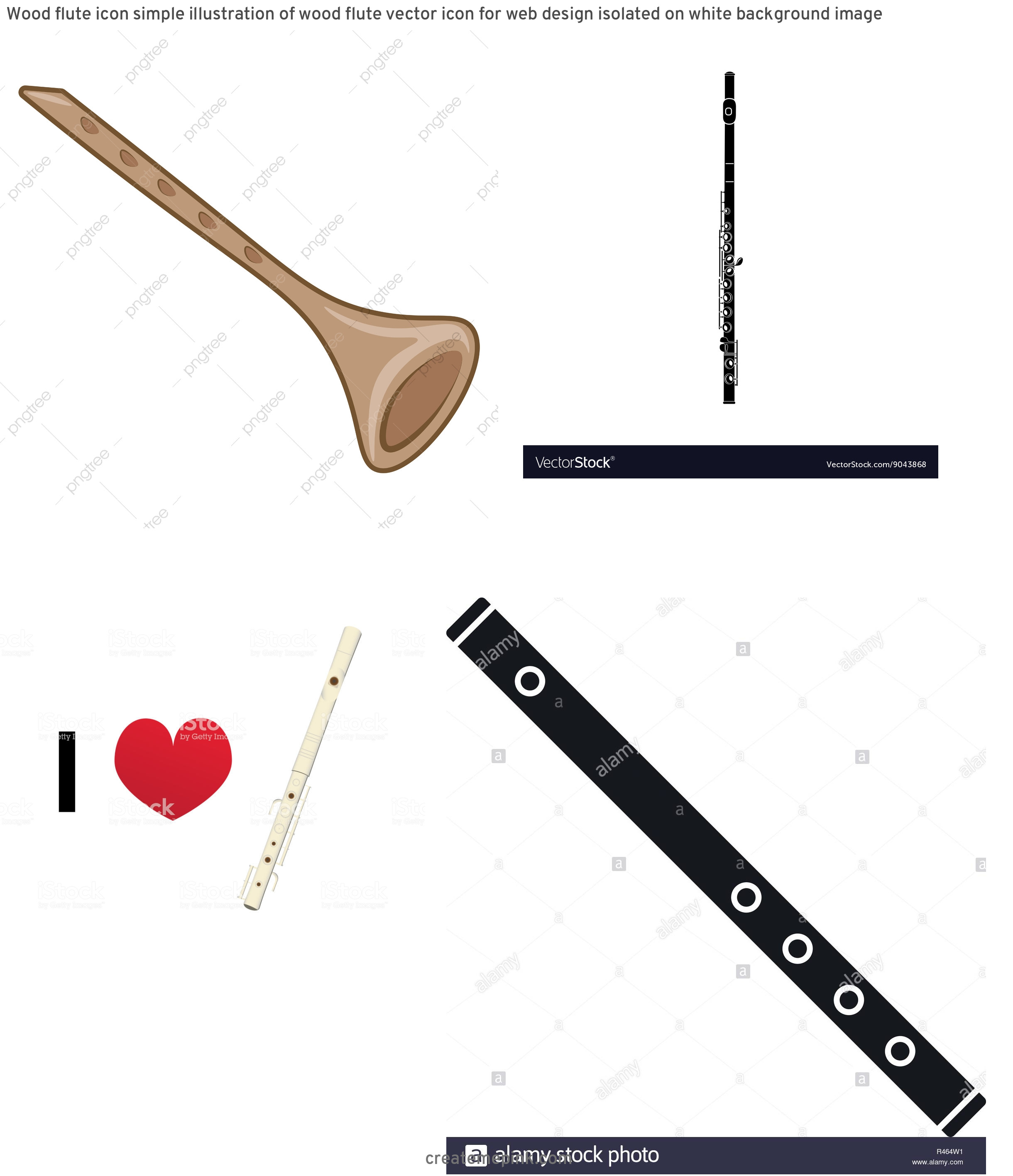 Flute Vector: Wood Flute Icon Simple Illustration Of Wood Flute Vector Icon For Web Design Isolated On White Background Image