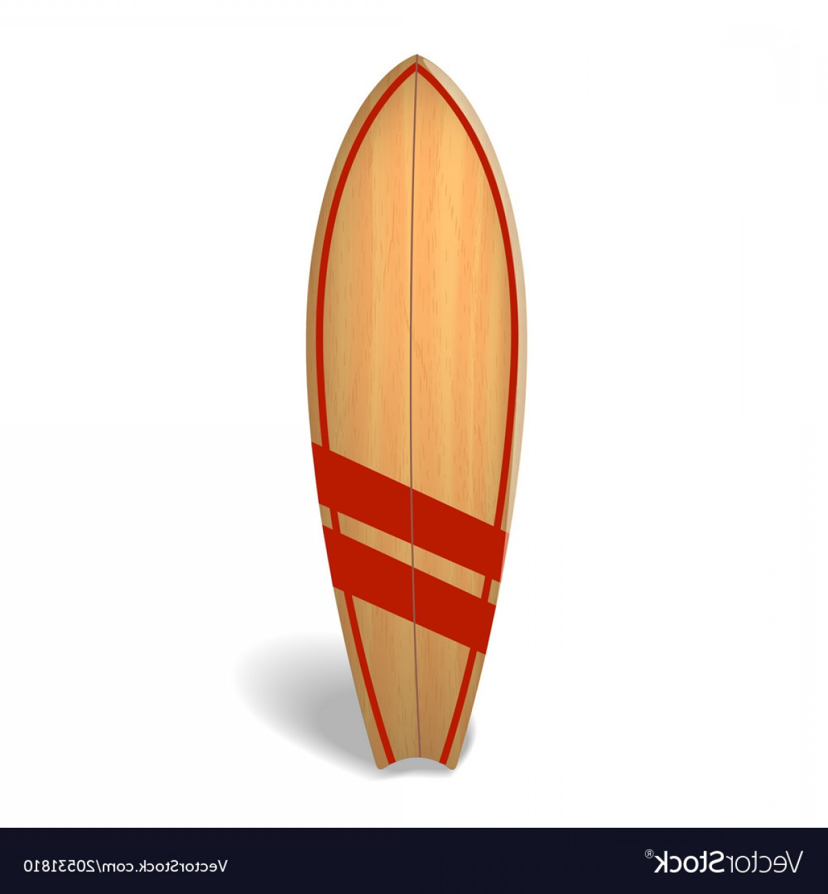 Orange Surfboard Vector: Wood Surf Board Summer Surfing Isolated Vector