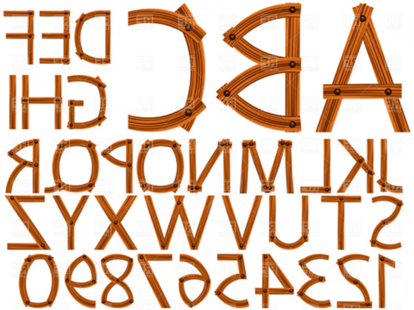 EPS Vector Letters: Wooden Alphabet And Numbers Vector Clipart