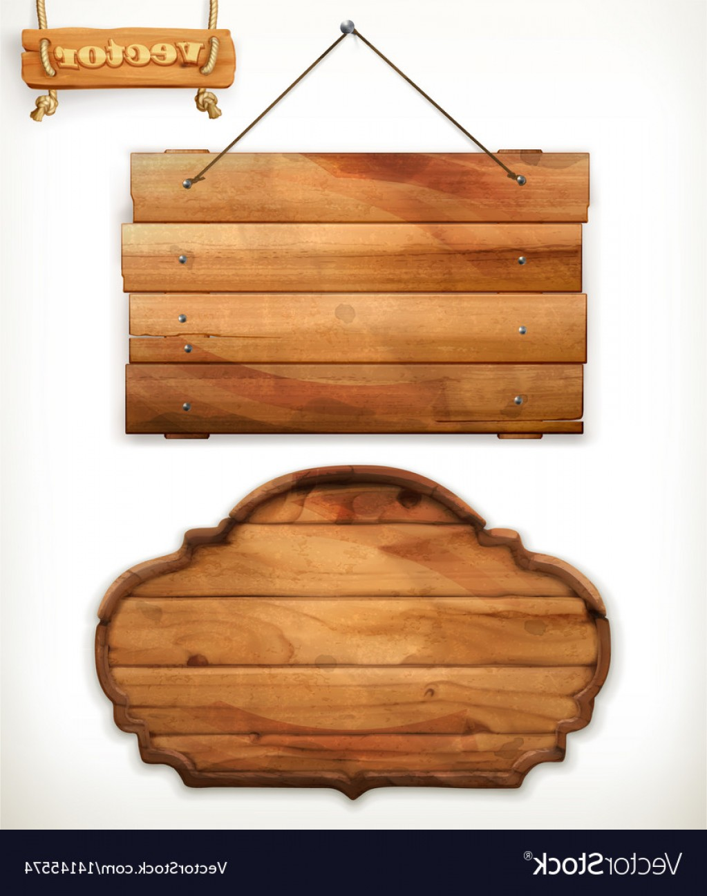 Old Wood Sign Vector: Wooden Board Old Wood Vector