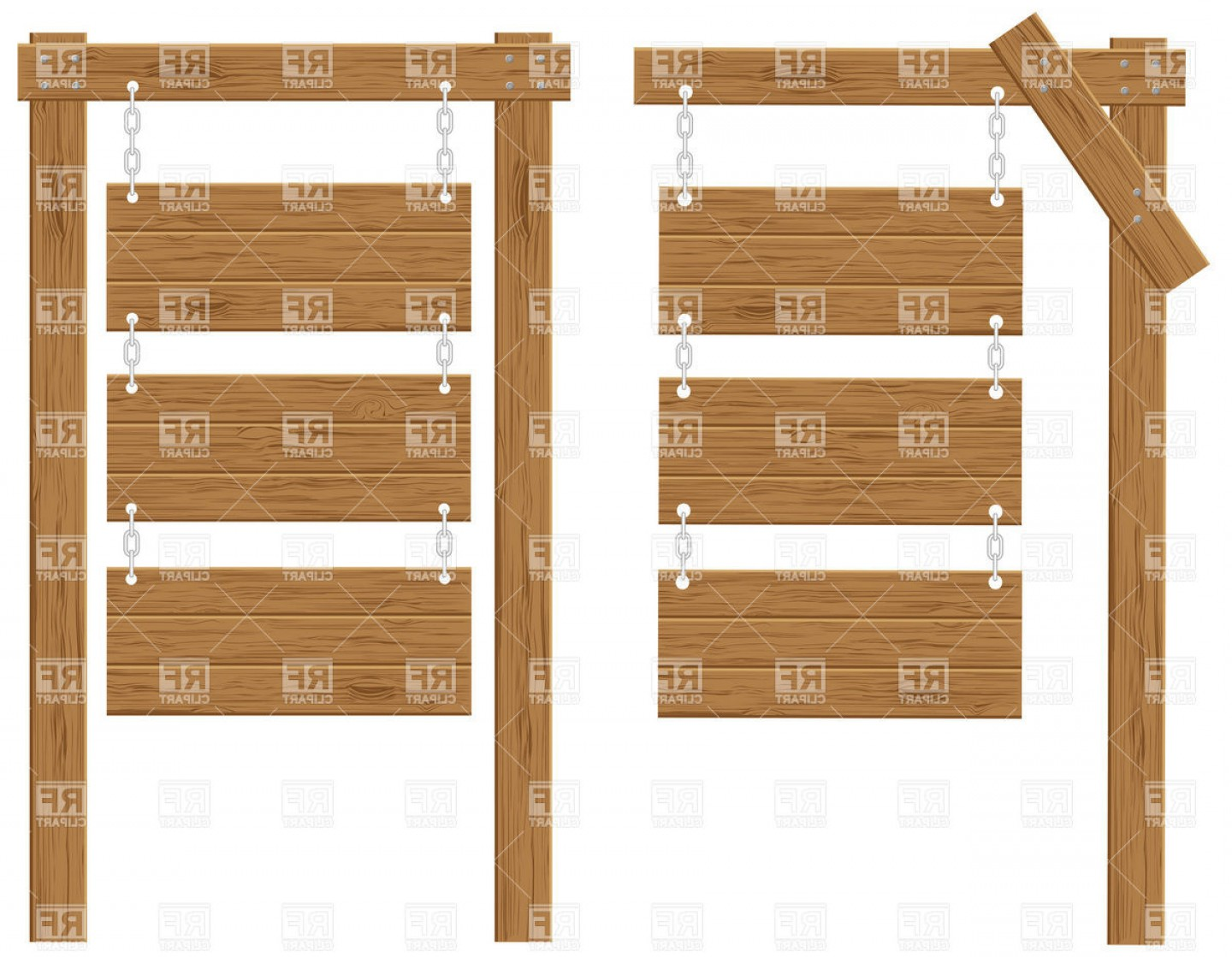 Old Wood Sign Vector: Wooden Boards Signs On Chains Vector Clipart