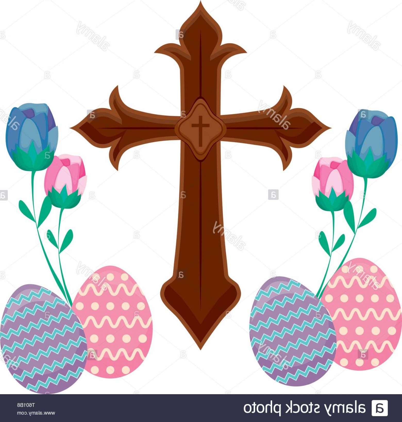 Catholic Clip Art Vector: Wooden Catholic Cross With Eggs Of Easter And Flowers Vector Illustration Design Image