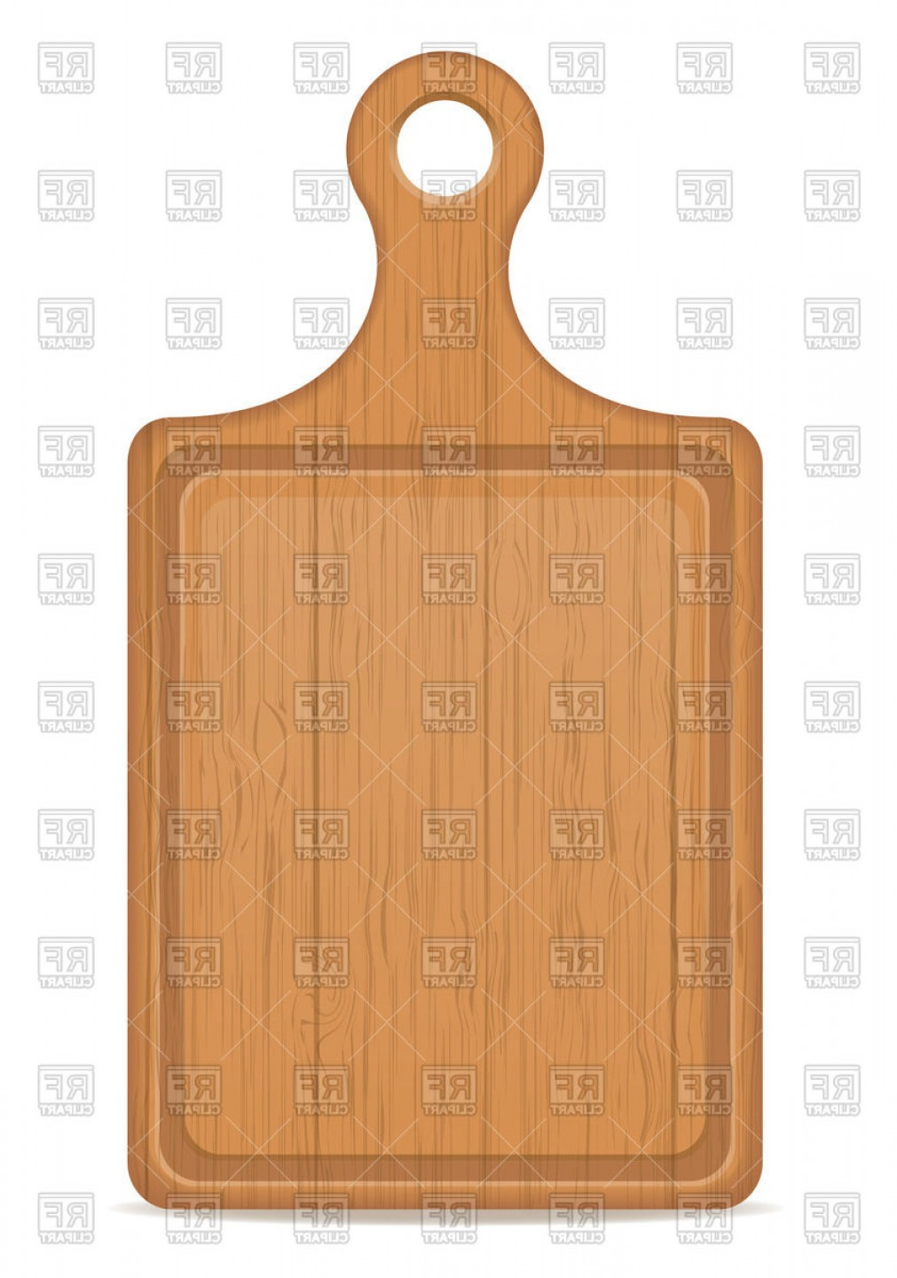 Wood Cutting Vector: Wooden Cutting Board With Handle Vector Clipart