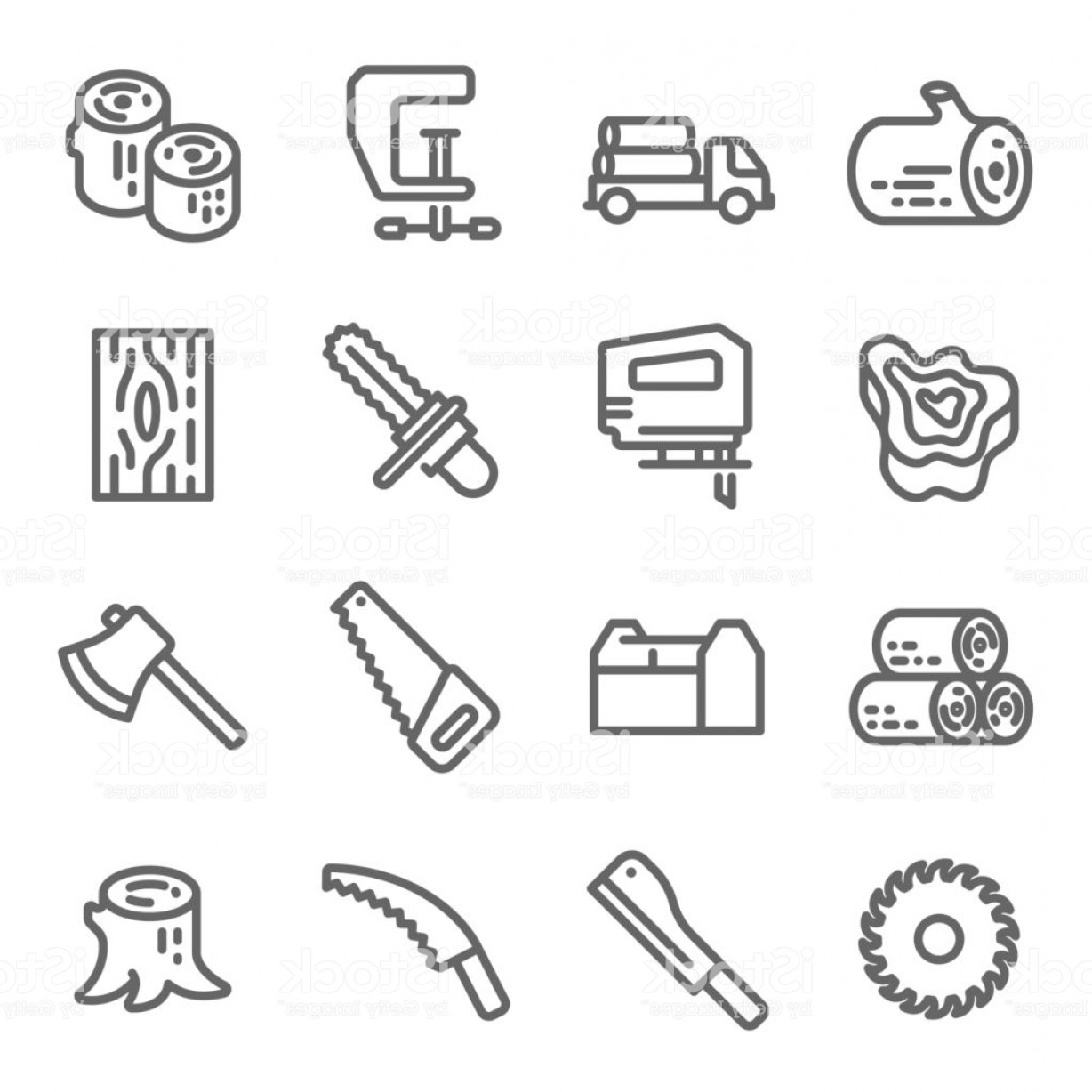Log C Vector: Wooden Icon Set Contains Such Icons As Chainsaw Log Axe And More Expanded Stroke Gm