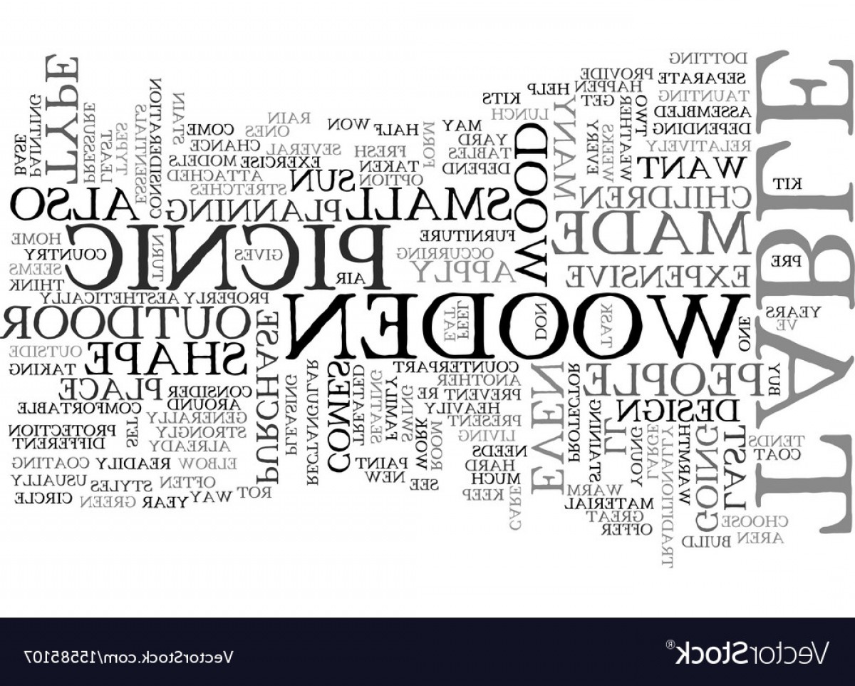 Vector Word Picnic: Wooden Picnic Table Text Word Cloud Concept Vector