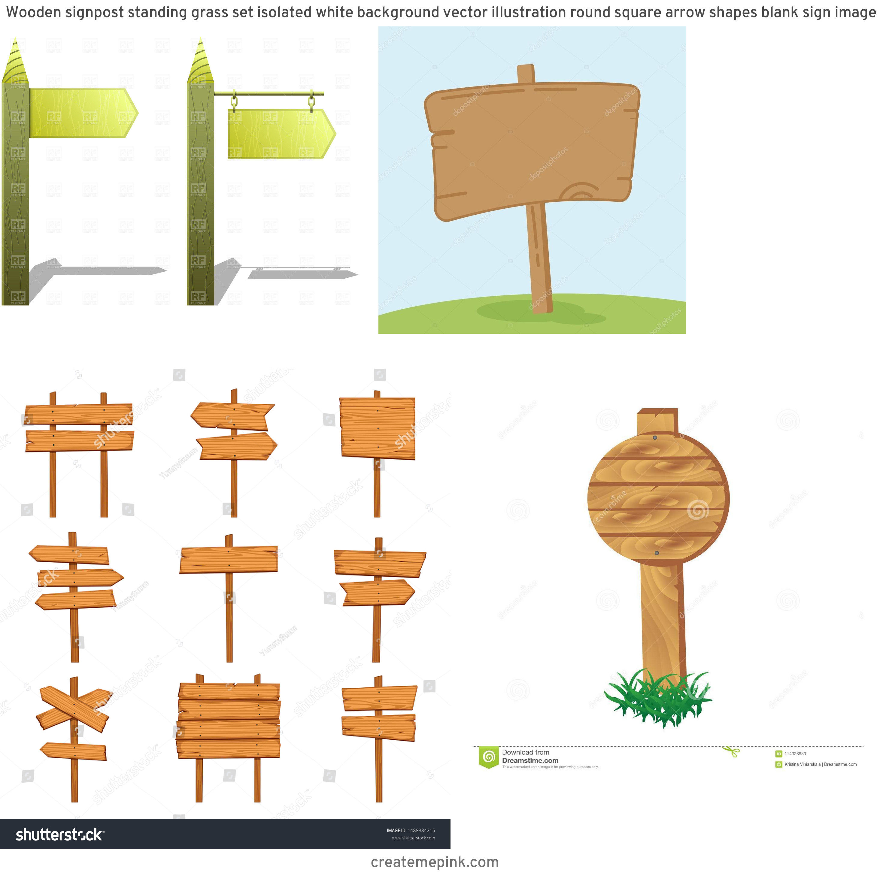Wooden Sign Post Vector: Wooden Signpost Standing Grass Set Isolated White Background Vector Illustration Round Square Arrow Shapes Blank Sign Image
