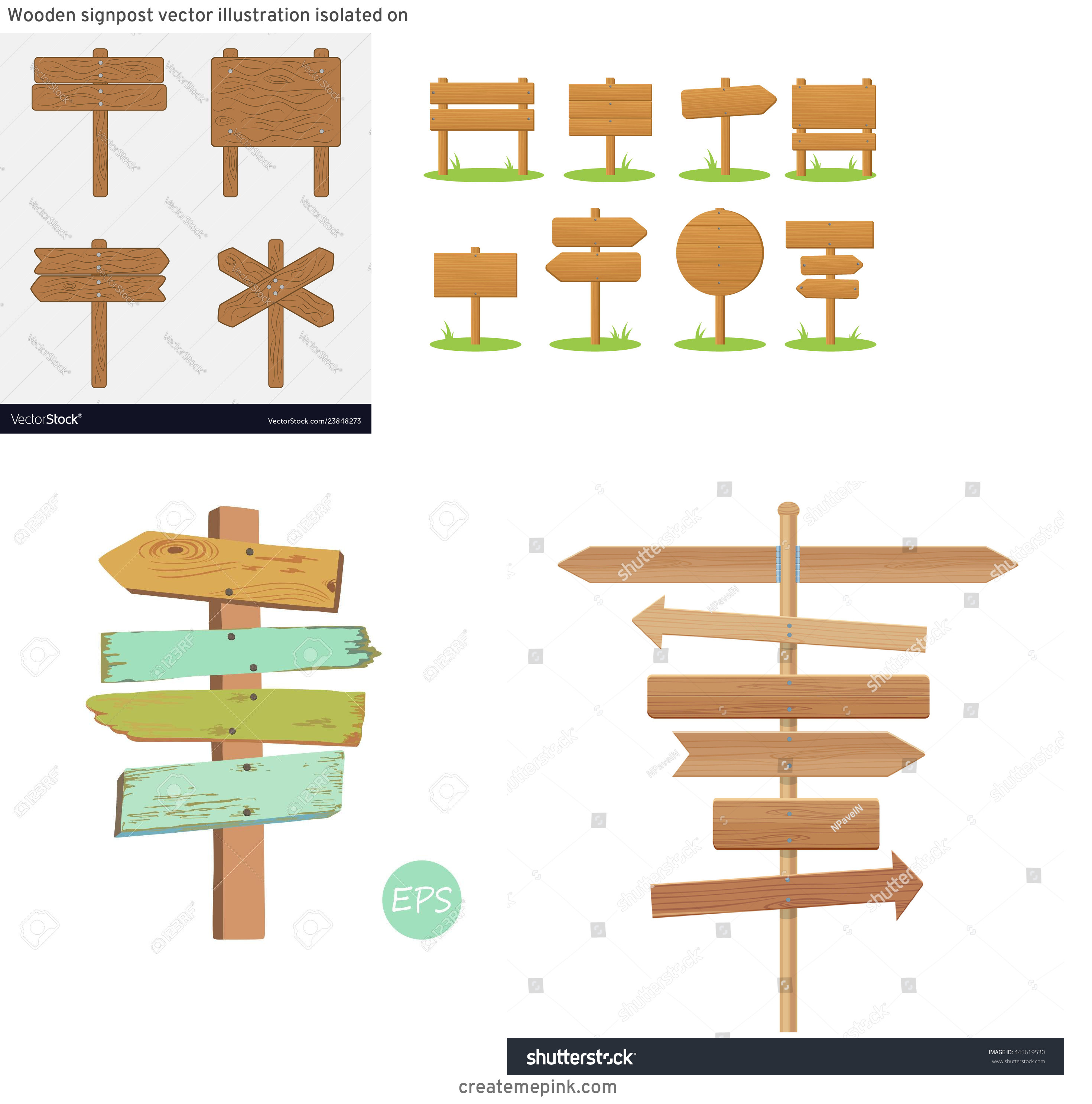 Wooden Sign Post Vector: Wooden Signpost Vector Illustration Isolated On