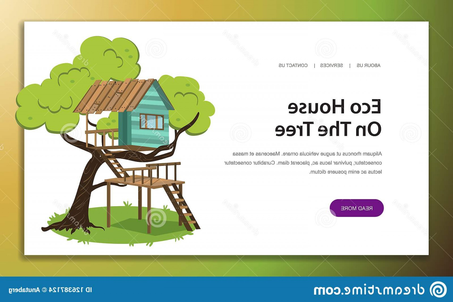 Vector Modern Tree House: Wooden Treehouse Upstairs Poster Vector Illustration Small Modern Comfortable Hut House Camp Branches Tree Scenic View Image