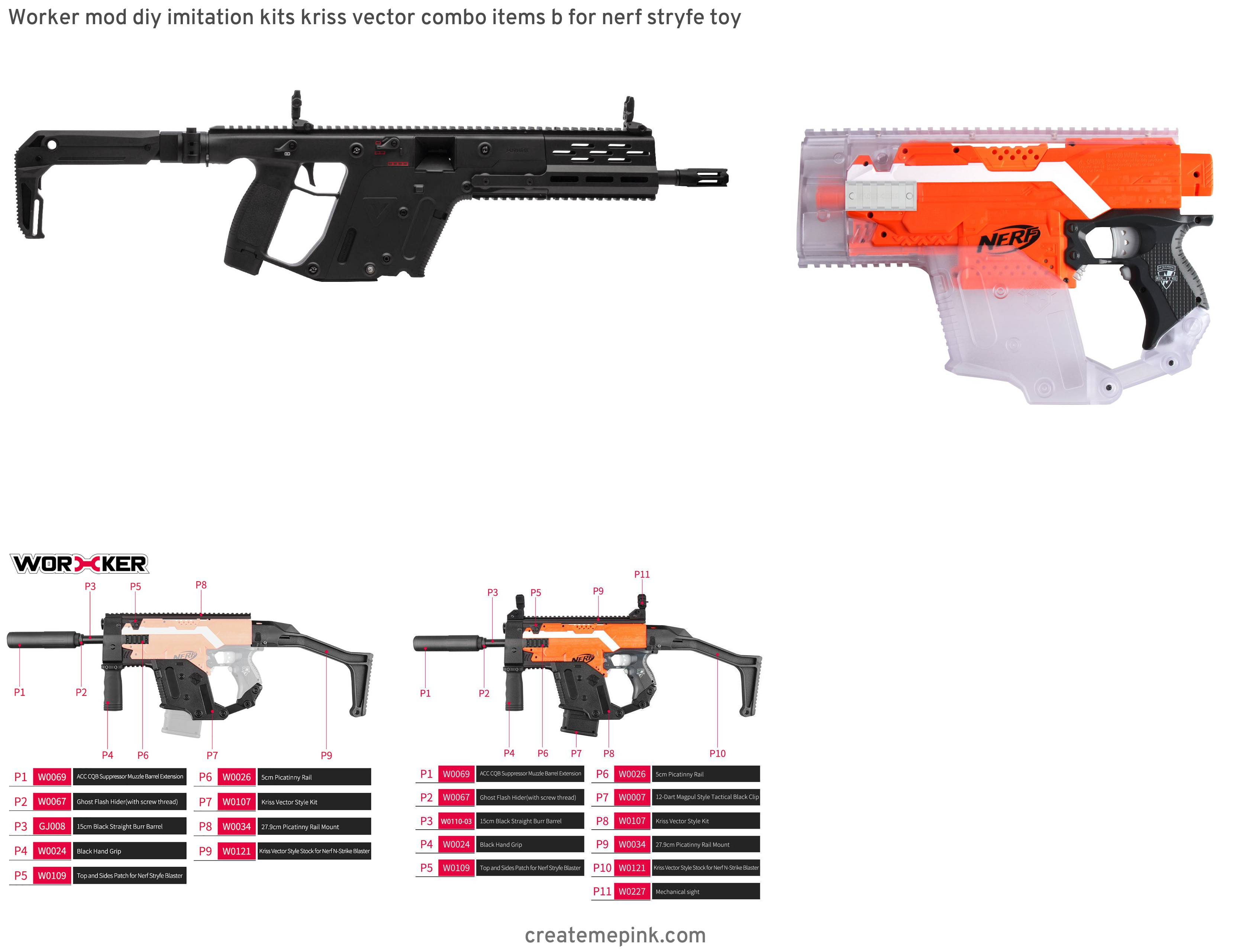Kriss Vector Rail Extension: Worker Mod Diy Imitation Kits Kriss Vector Combo Items B For Nerf Stryfe Toy