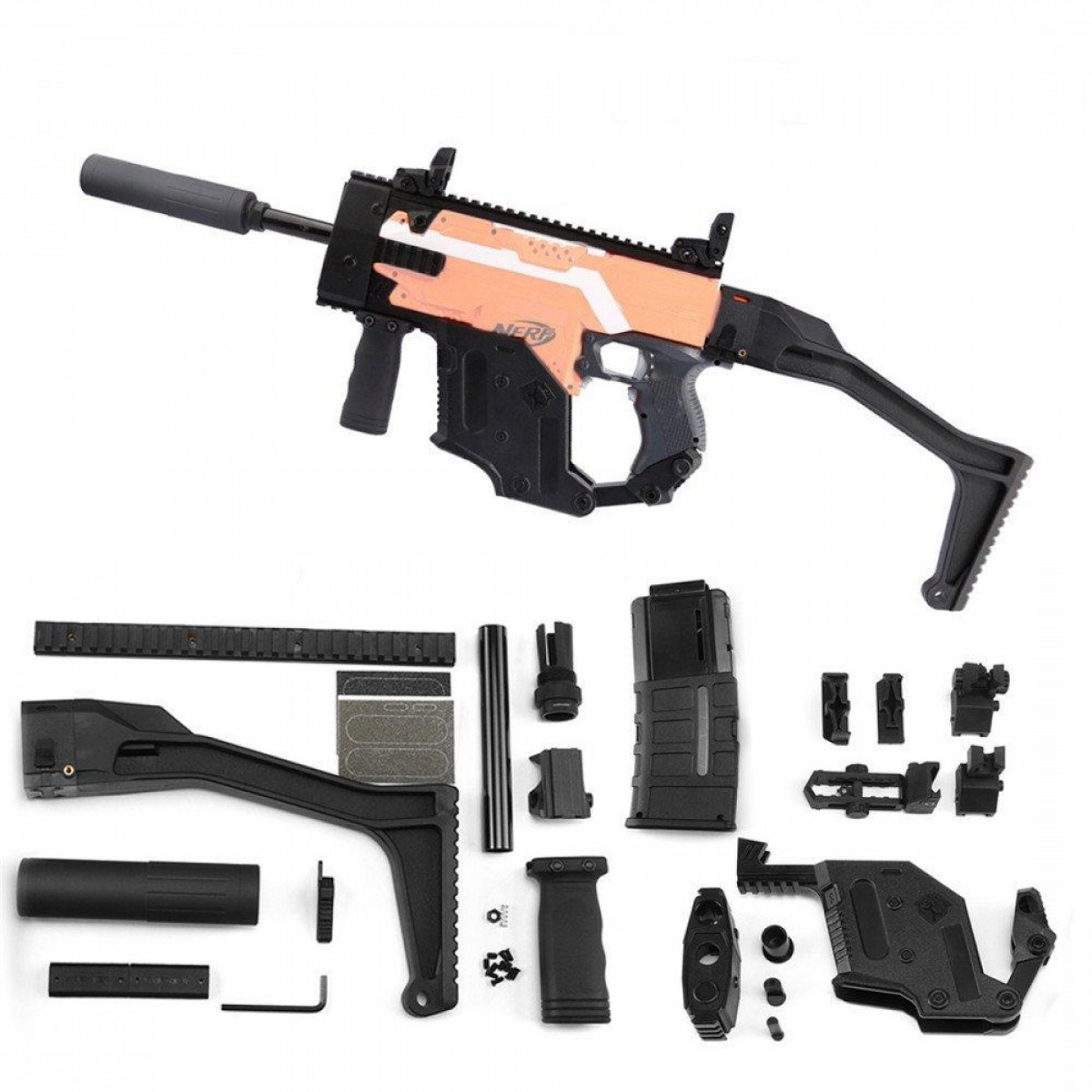 Vector Kriss Scope: Worker Mod Kriss Vector Imitation Kit Items W Tactical Quick Deploy Flip Up Scope Part For Nerf P
