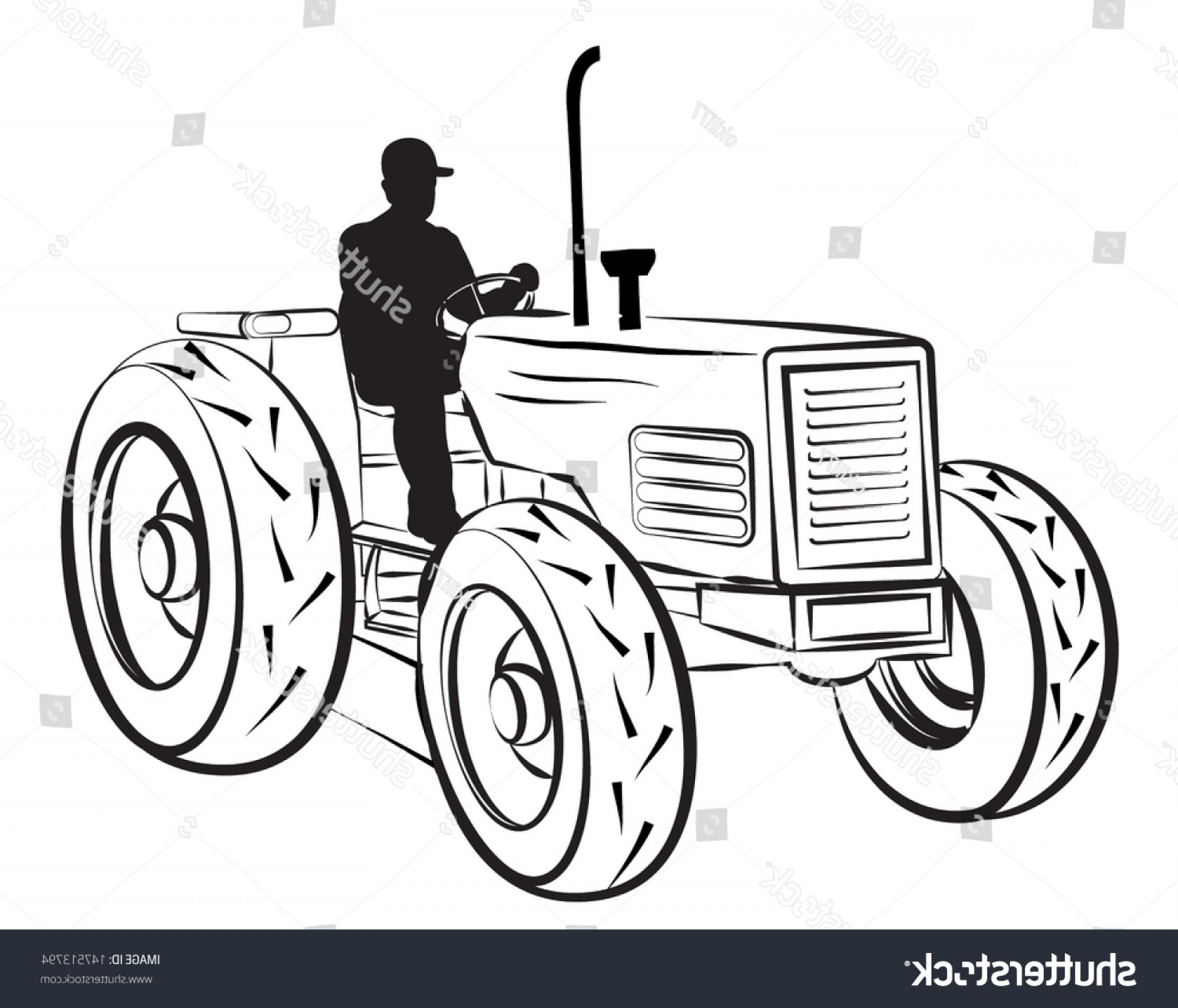Tractor Silhouette Vector Art: Worker On Tractor Silhouette Outline Vector