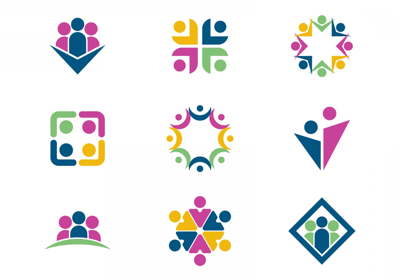 Free Vector Download Sites: Working Together Teamwork Logo Vectors