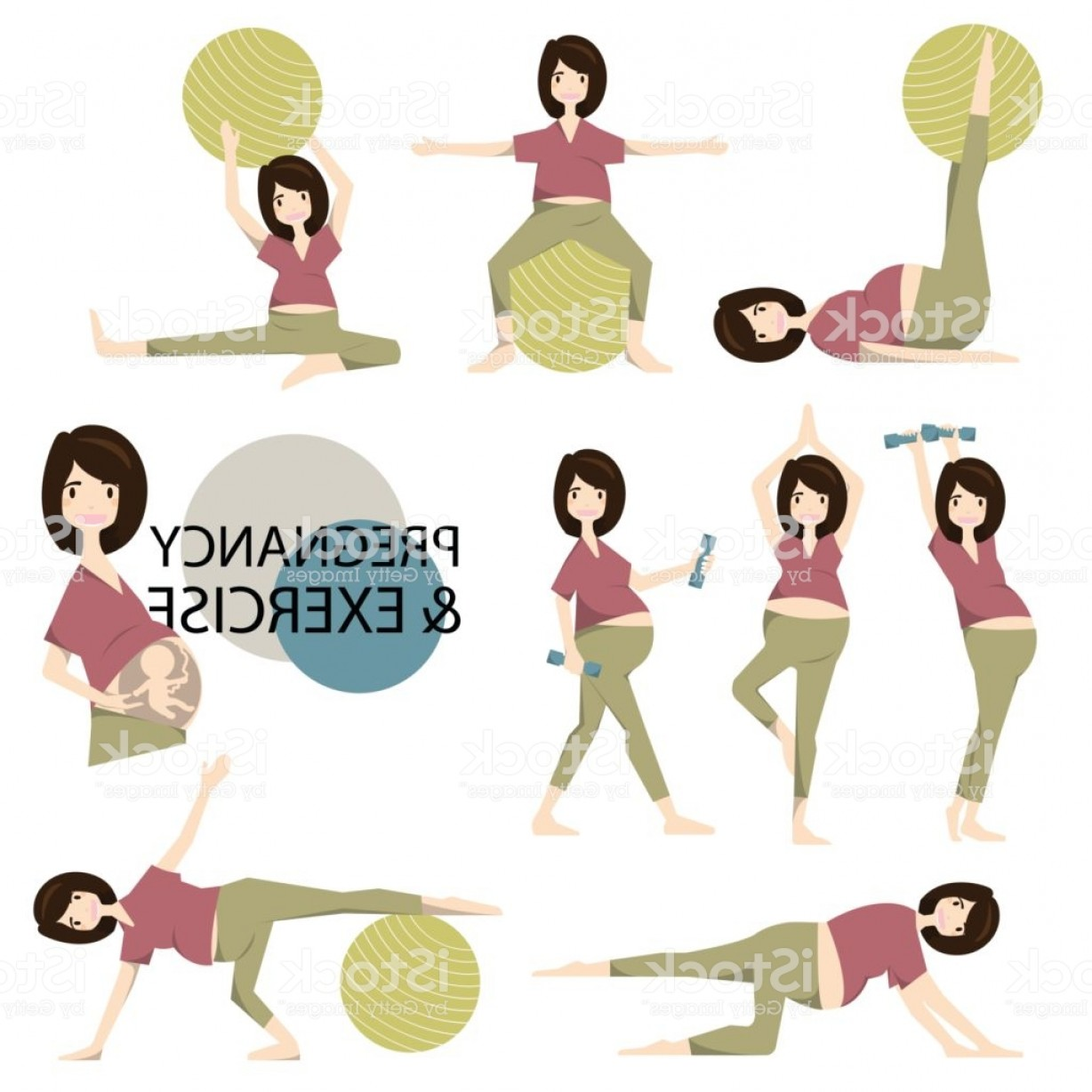 Pregnant Vector Art: Workout For Pregnant Set Yoga Training For Healthy Pregnancy Vector Illustration Gm