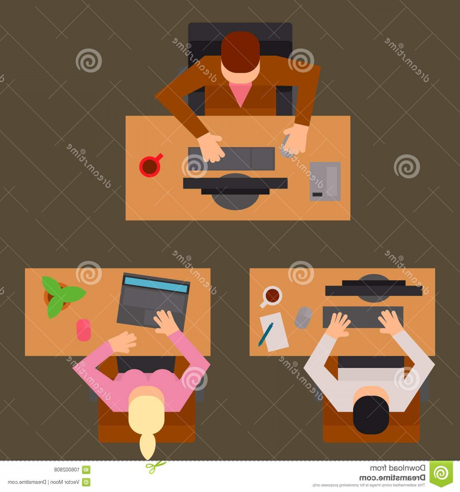 Happy Workplace Anniversary Vector: Workplace Office Tables Vector Business People Team Work Process Office Concept Web Modern Worker Table Top View Flat Workplace Image
