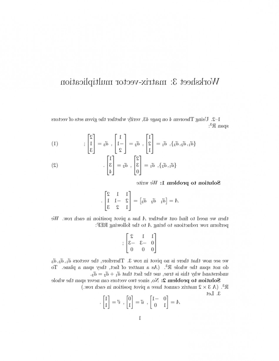 Matrix- Vector Multiplication: Worksheet Matrix Vector Multiplication