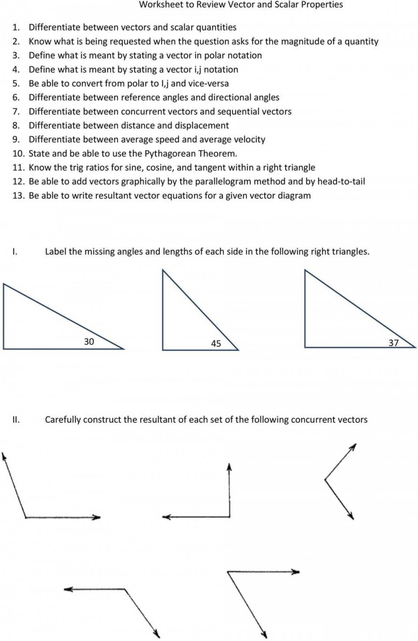 Vector Angle Properties: Worksheet To Review Vector And Scalar Properties