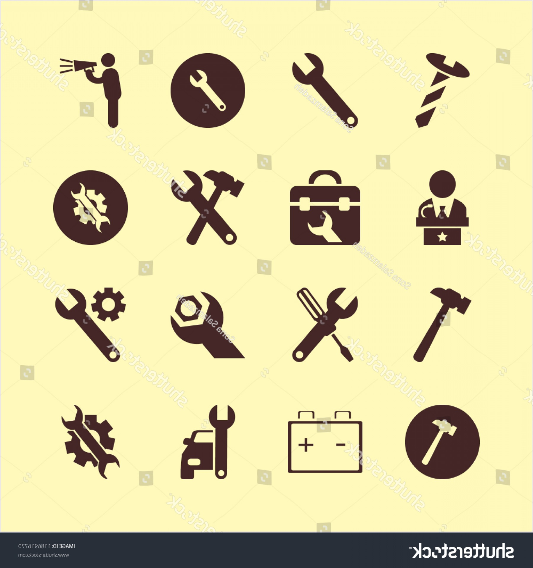 Gear Vector Icons Large: Workshop Icon Vector Icons Set Screw