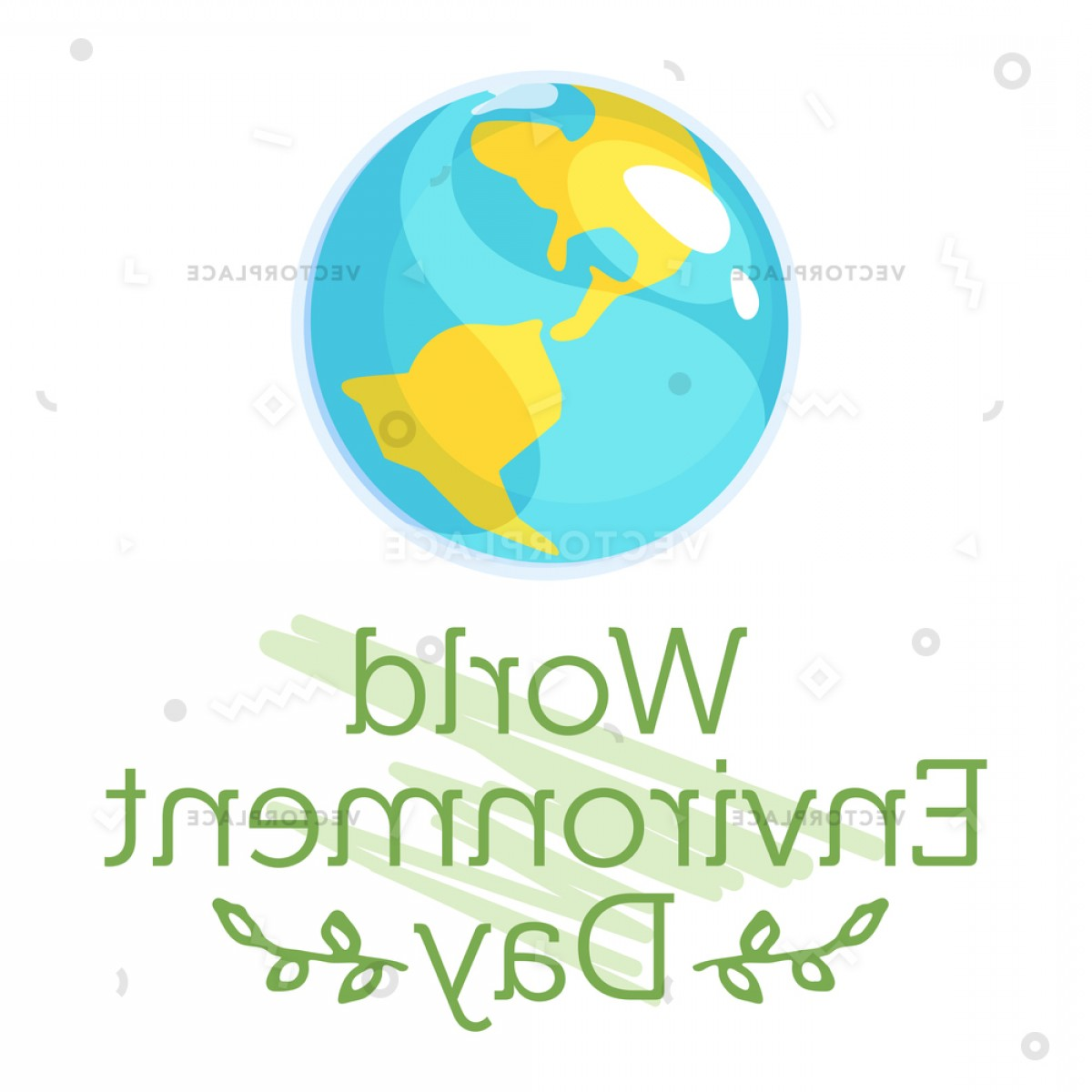 Erth Vector: World Environment Day Concept Planet Earth Vector Illustration