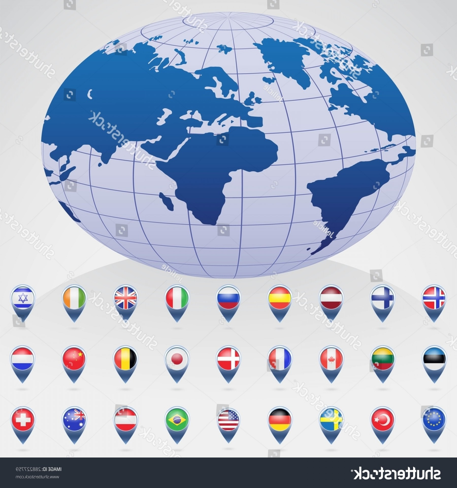 Vector Globe Countries: World Globe Flags Different Countries Vector