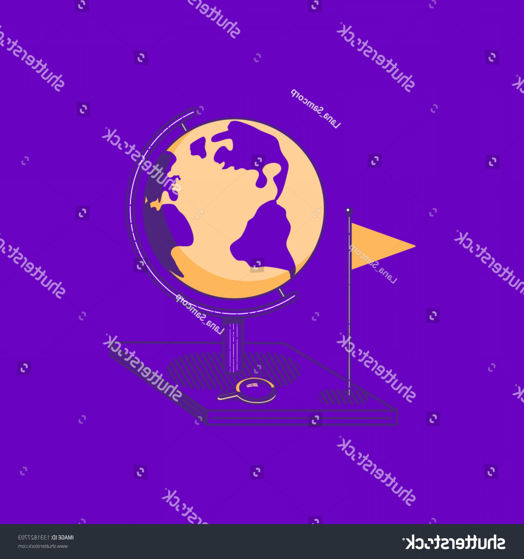 One Color Simple Vector Globe: World Globe Flat Hand Drawn Vector