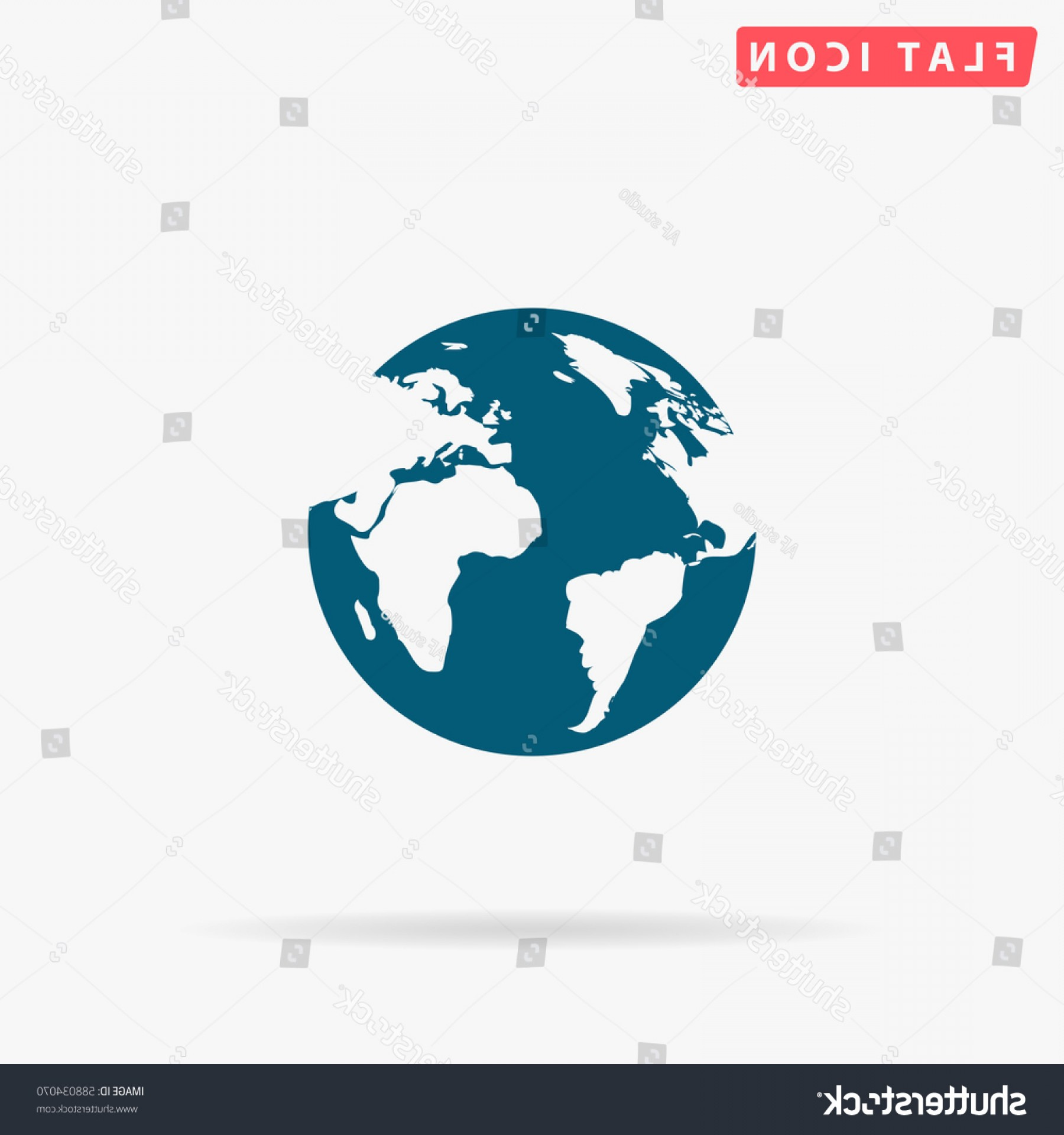 World Icon Vector Simple: World Icon Vector Flat Simple Blue