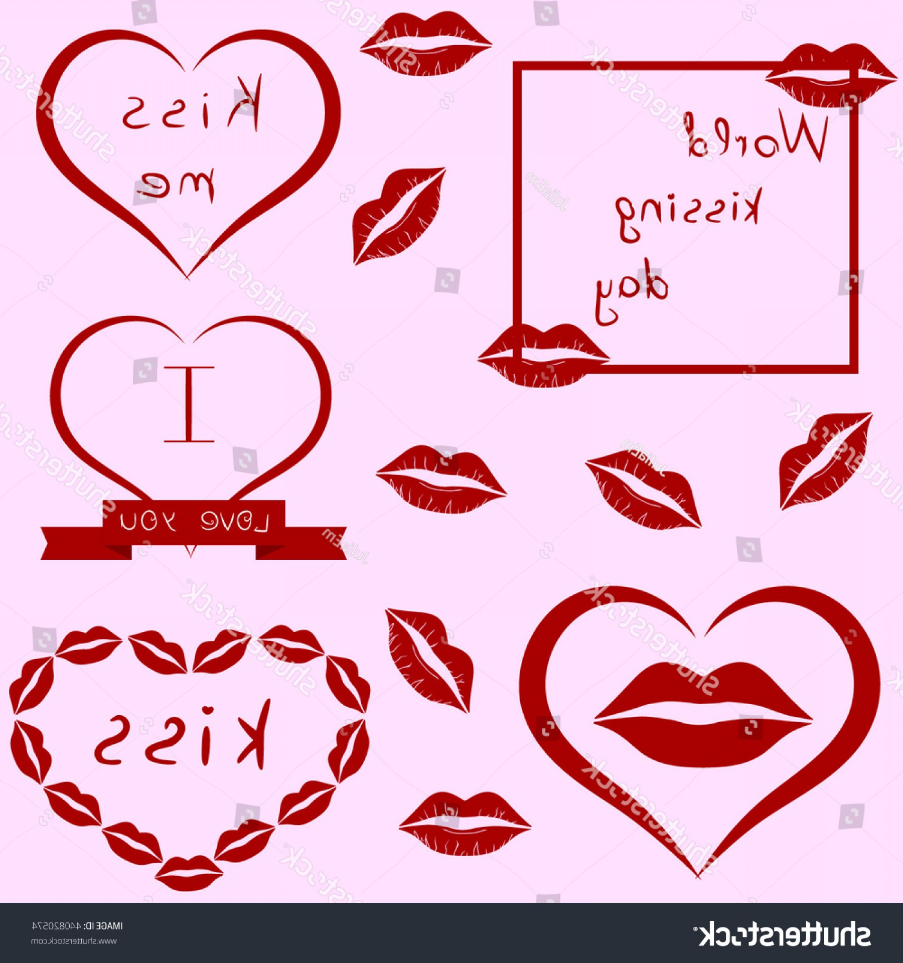 Kiss Clip Art Vector: World Kissing Day Clipart Set Lips