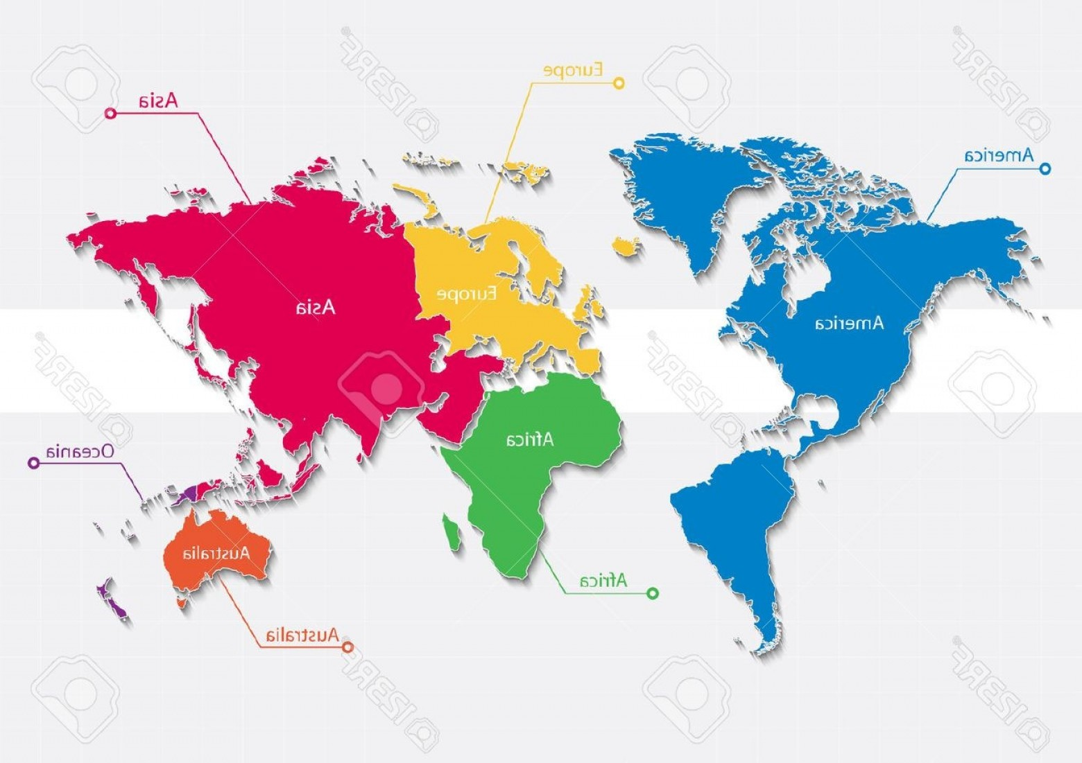 Asia Continent Map Vector: World Map Continents Colors Vector Individual Separate Europe Asia America Africa Austral Of