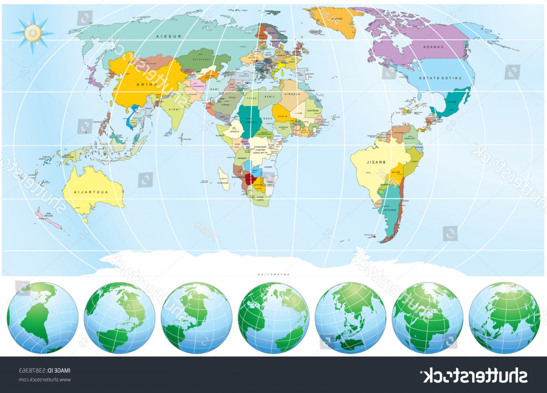 Vector Globe Countries: World Map Globes Detailed Editable Vector
