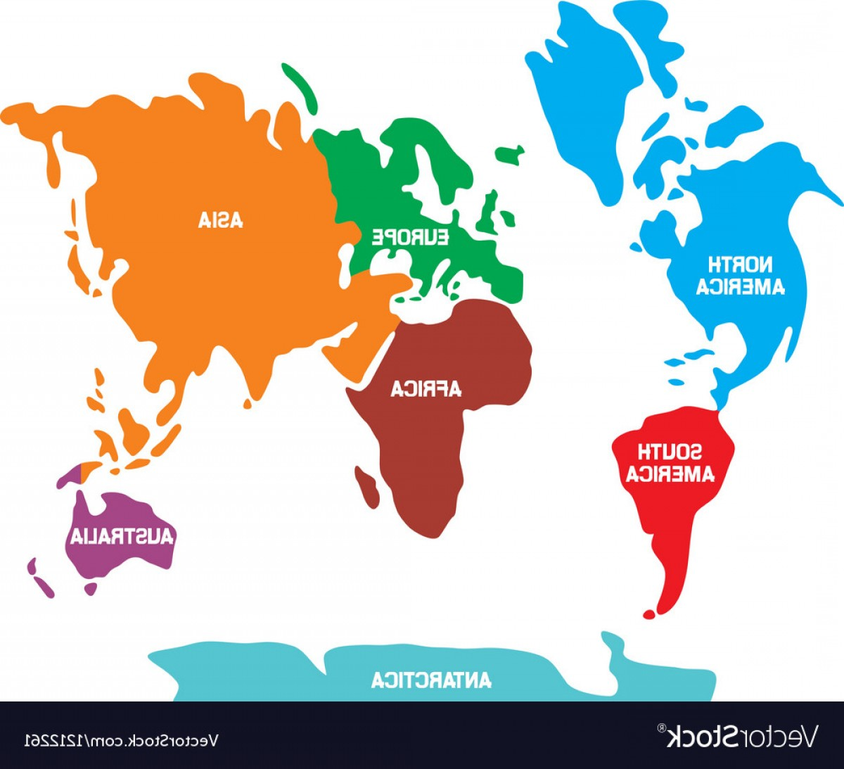 Asia Continent Map Vector: World Map With Continents Vector