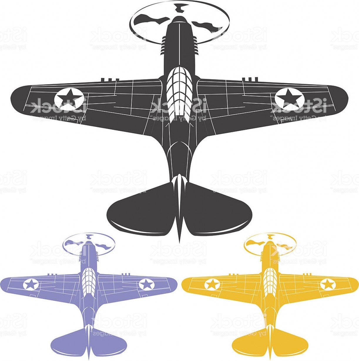 Old School Airplane Fighter Silhouette Vector: World War Ii Old Fighter Plane Gm