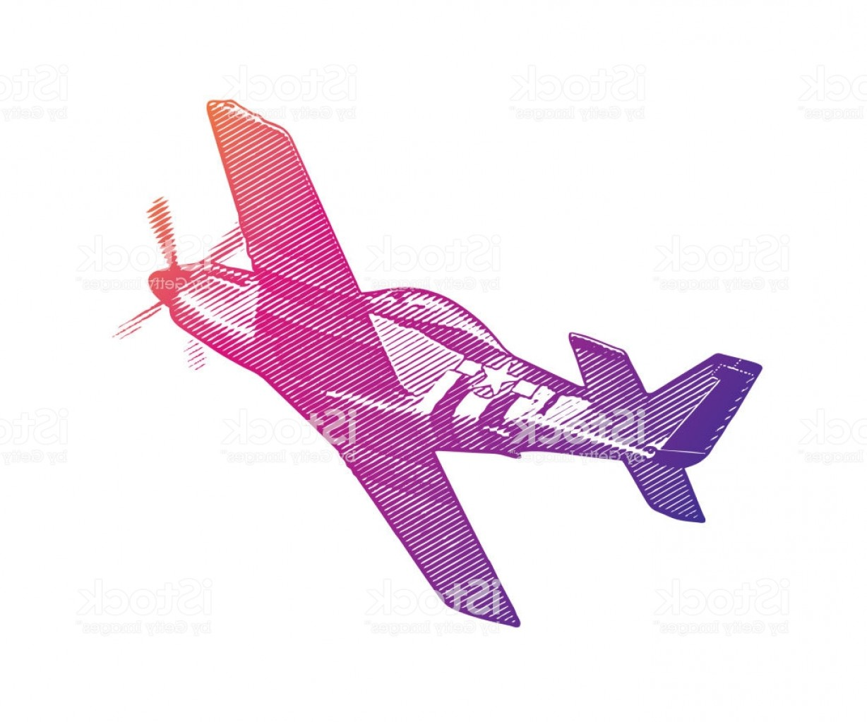 Old School Airplane Fighter Silhouette Vector: World War Ii P Mustang Airplane Gm