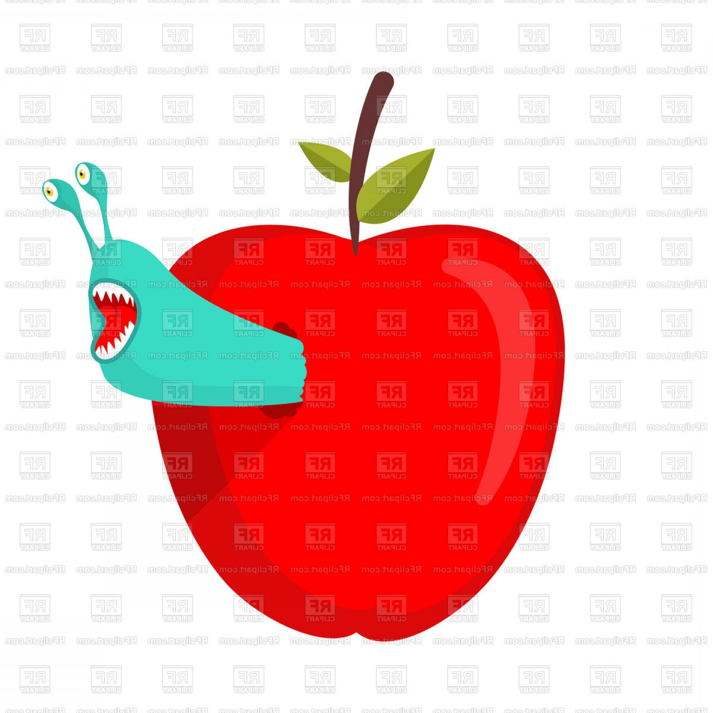 Red Apple Vector Logo: Worms Eat Red Apple Vector Clipart