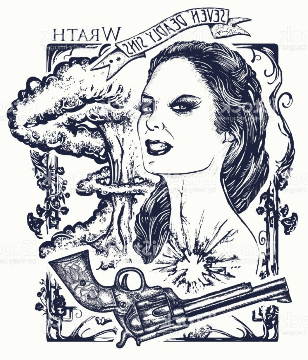 Cute But Deadly Vector: Wrath Seven Deadly Sins Tattoo And T Shirt Design Angry Woman Symbol Of Rage Hatred Gm