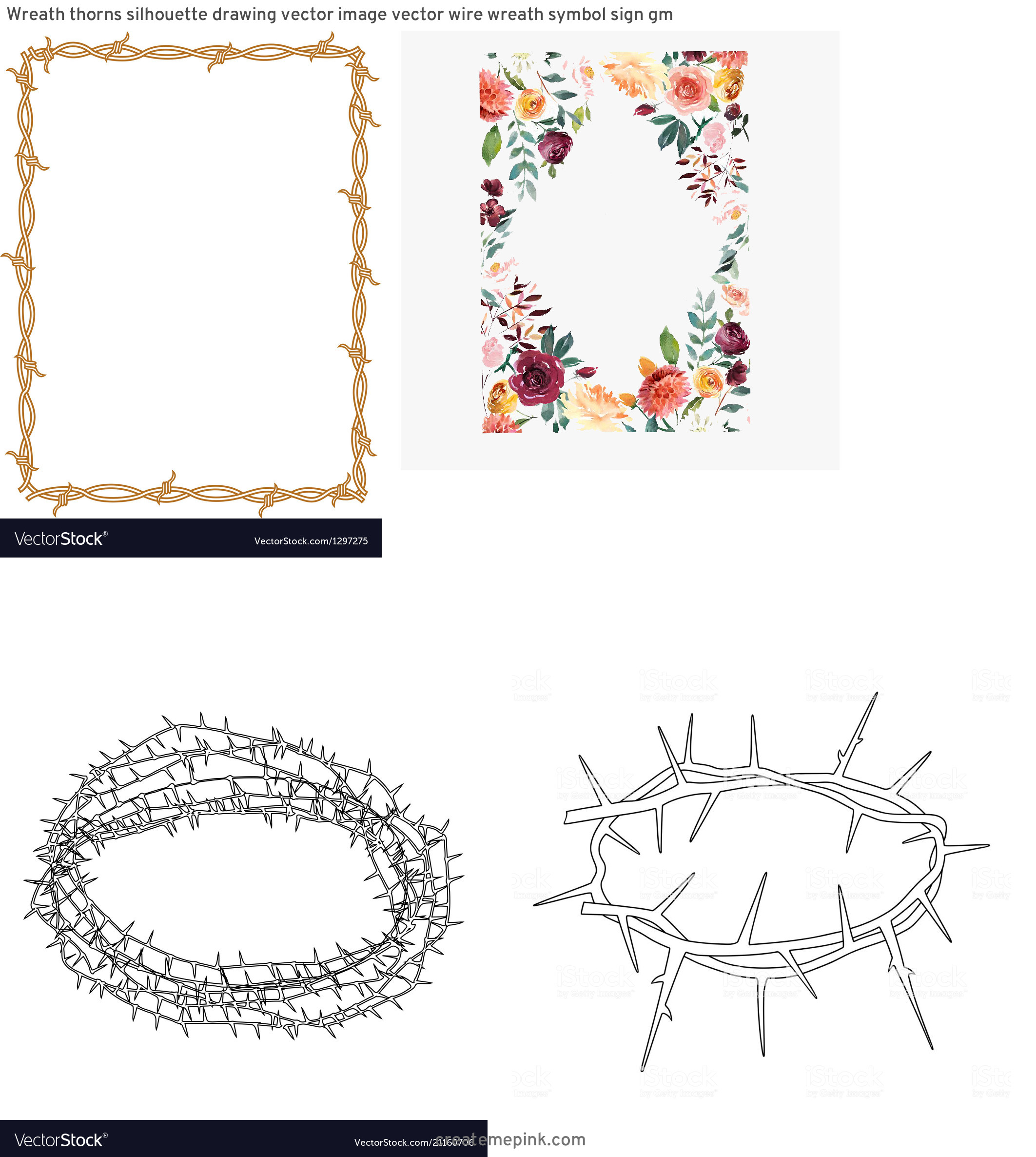 Barb Wire Wreath Vector: Wreath Thorns Silhouette Drawing Vector Image Vector Wire Wreath Symbol Sign Gm