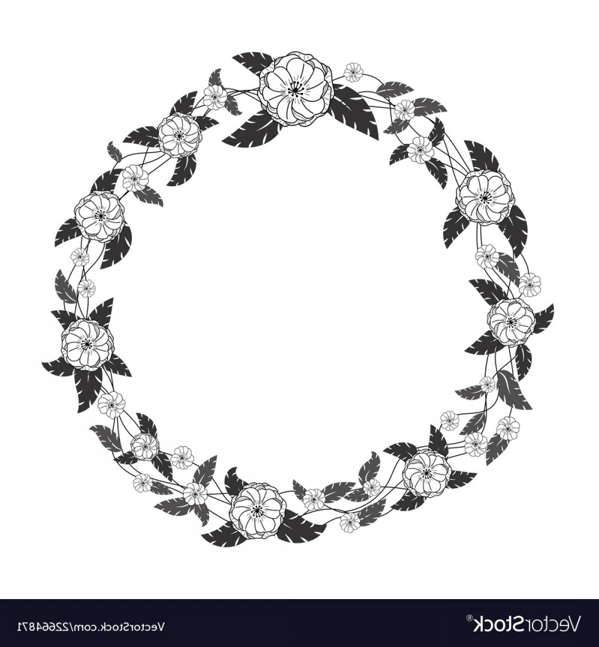 Vector Flower Wreaths In Black: Wreath With Black And White Flowers And Leaves Vector
