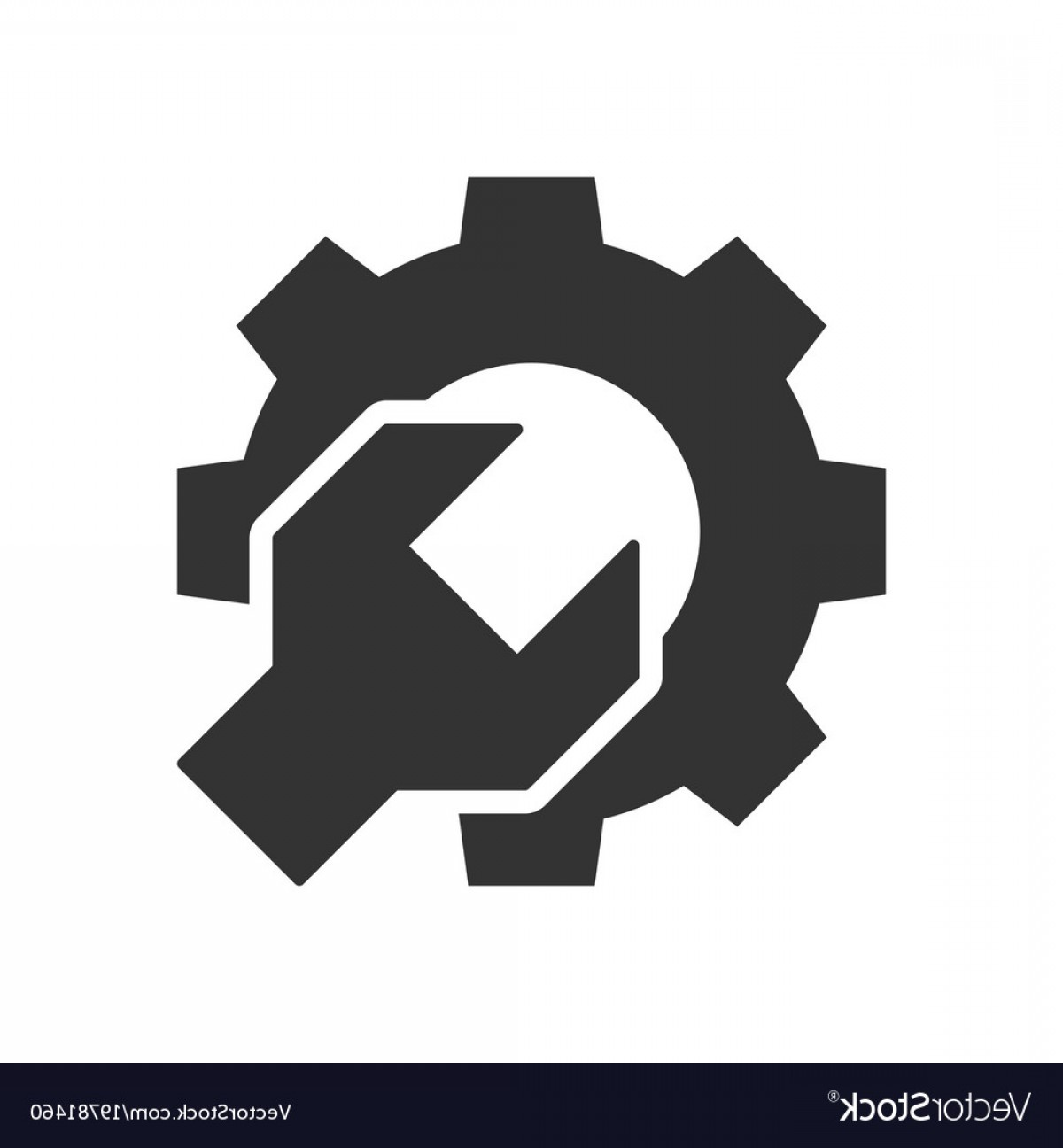 Vector Gear Graphics: Wrench Gear Black Icon Vector