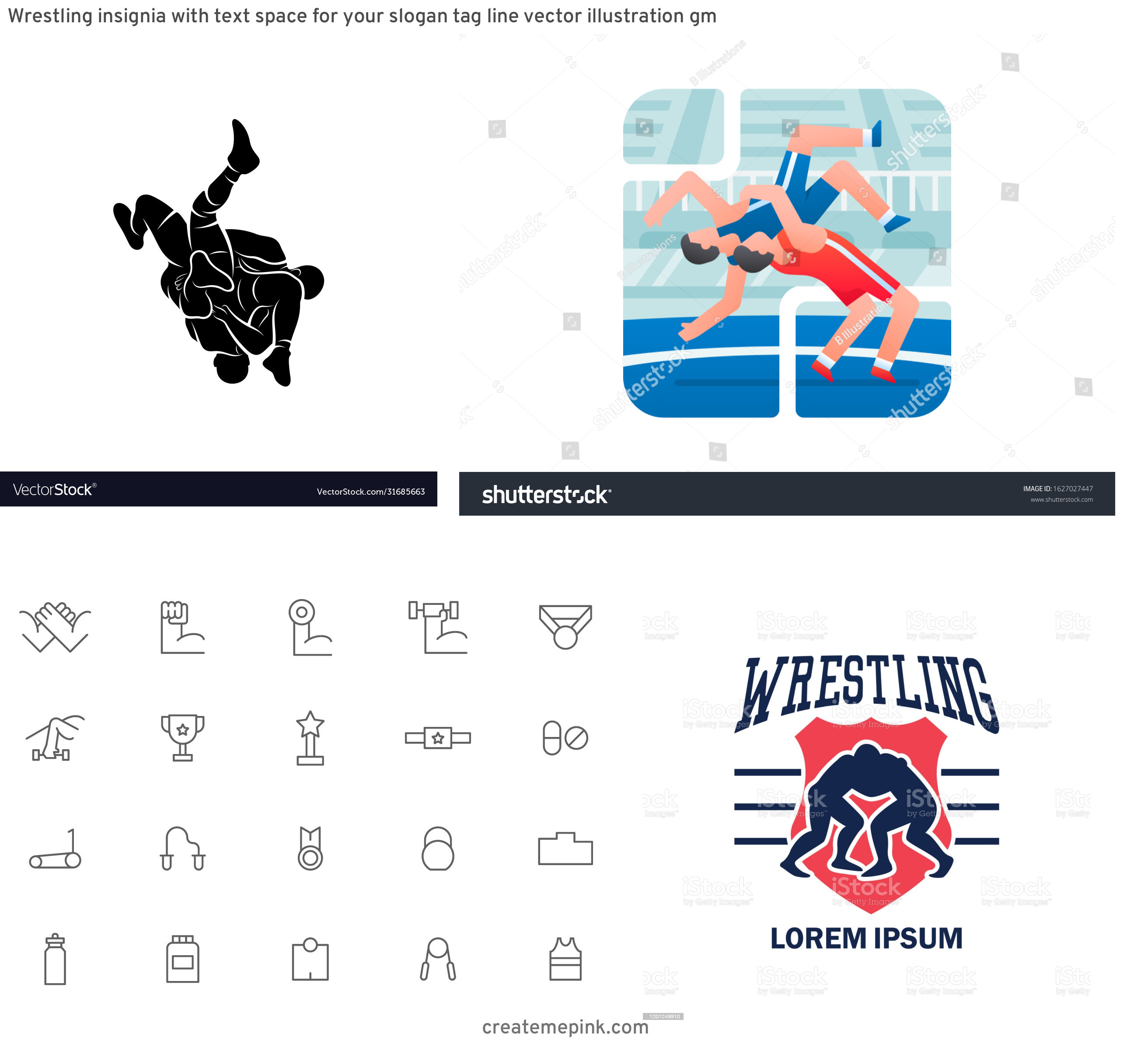 Vector Wrestling Mat: Wrestling Insignia With Text Space For Your Slogan Tag Line Vector Illustration Gm