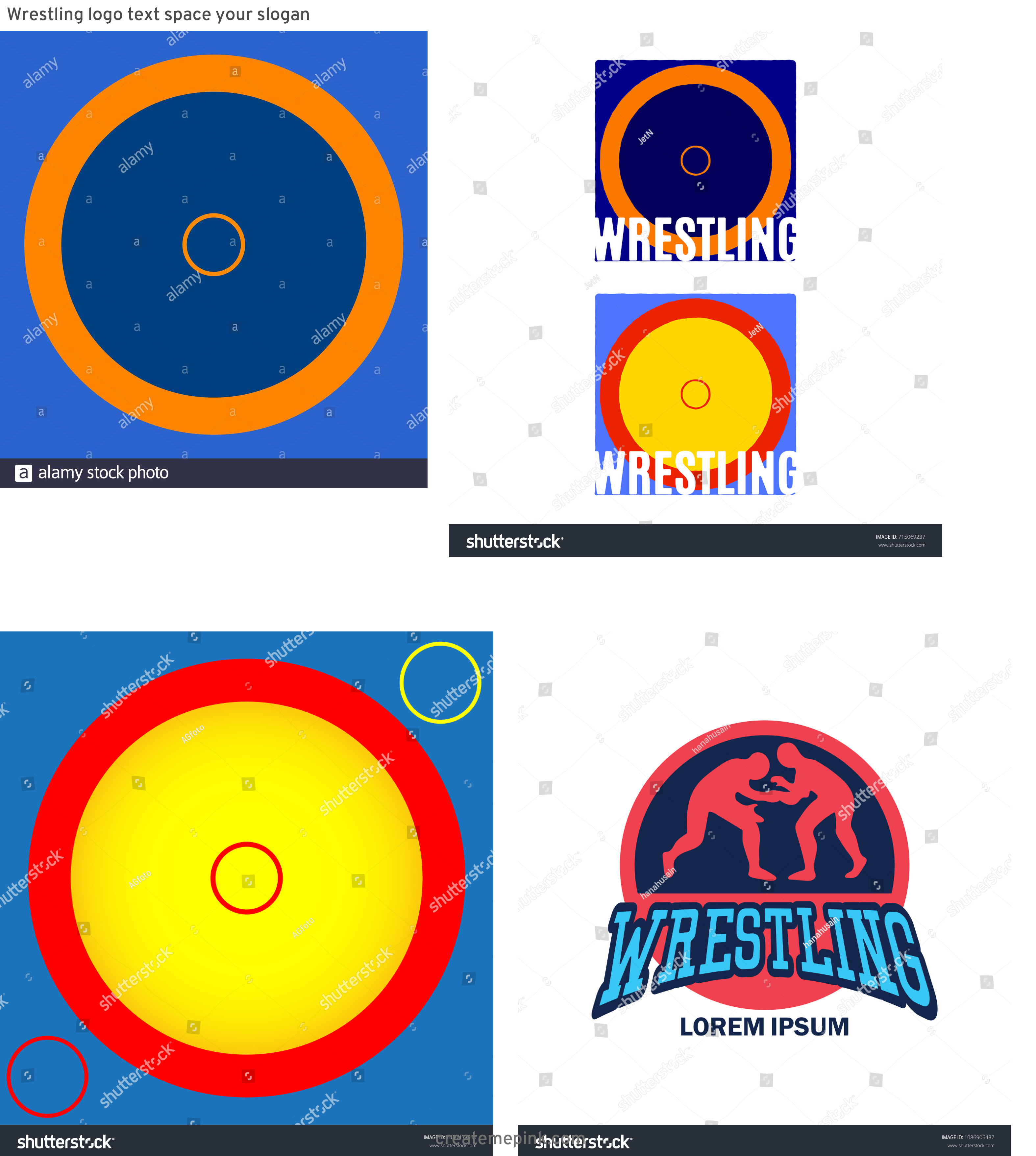Vector Wrestling Mat: Wrestling Logo Text Space Your Slogan
